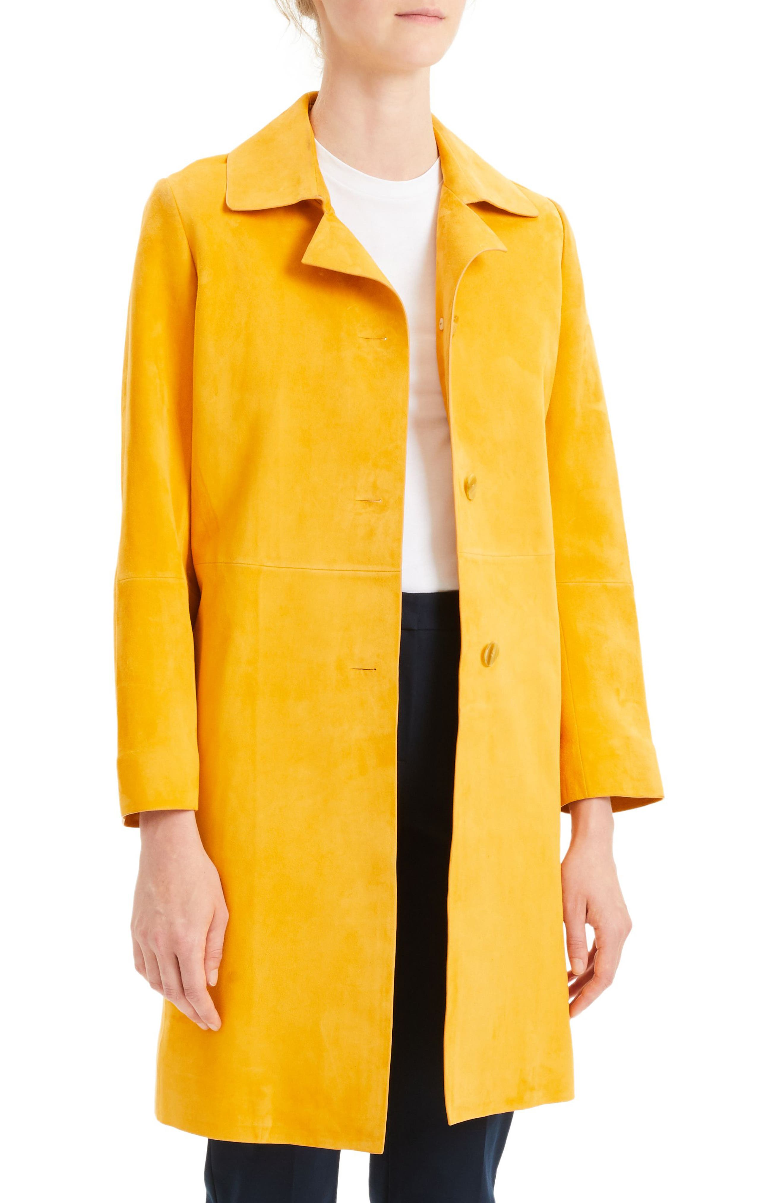 THEORY,                             Piazza Leather Coat,                             Alternate thumbnail 3, color,                             ZEST