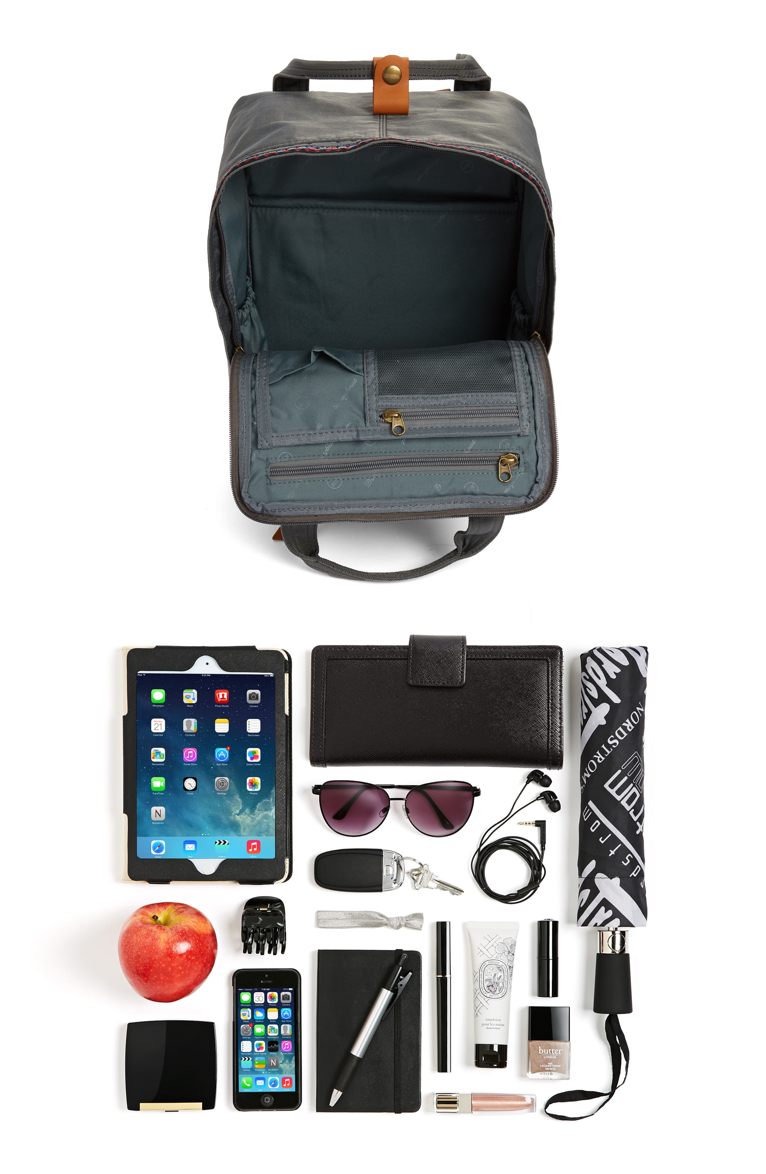 Macaroon Bo-He Water Resistant Backpack,                             Alternate thumbnail 7, color,                             CHARCOAL