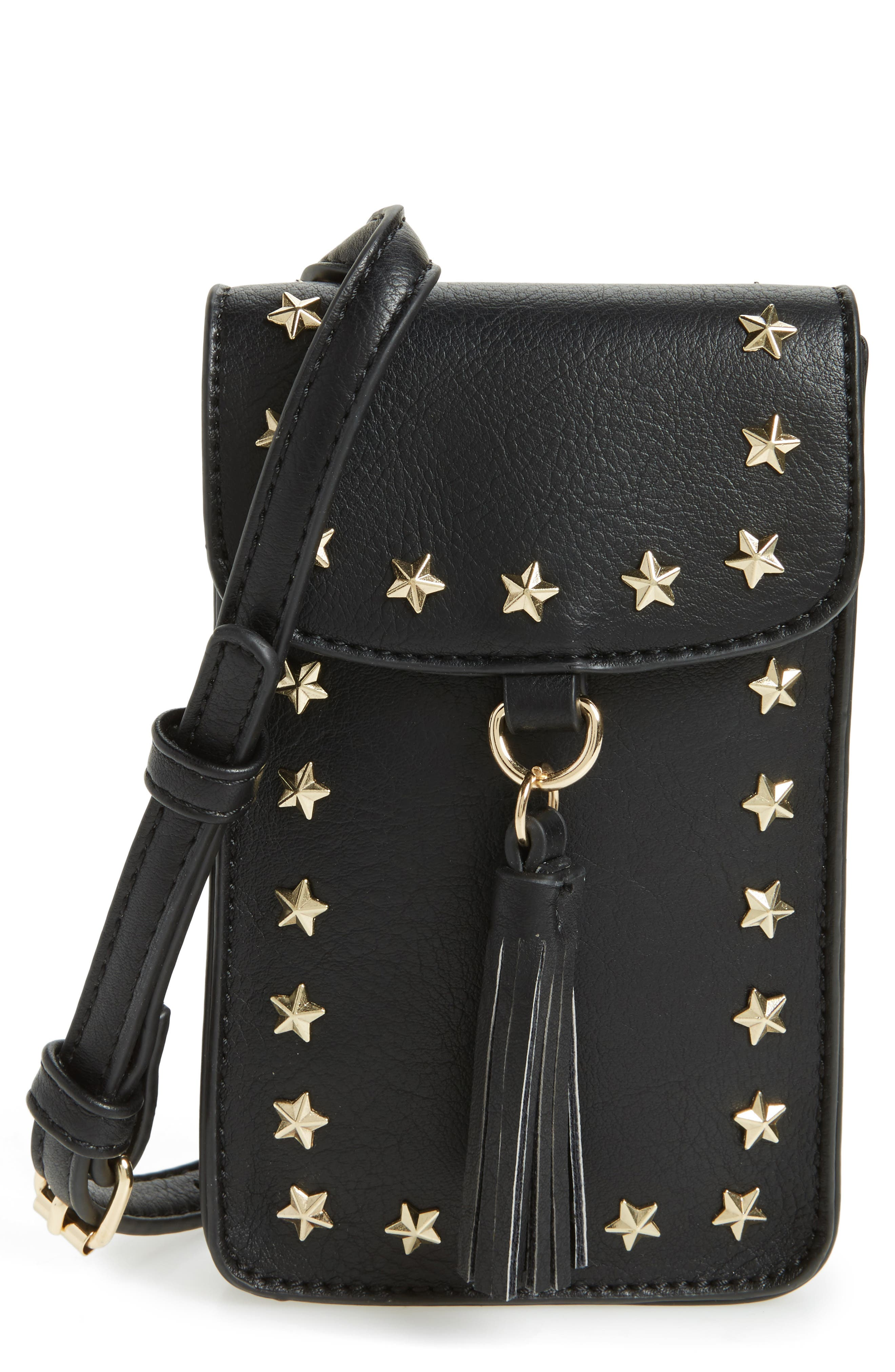 Studded Faux Leather Phone Crossbody Bag,                             Main thumbnail 1, color,                             001