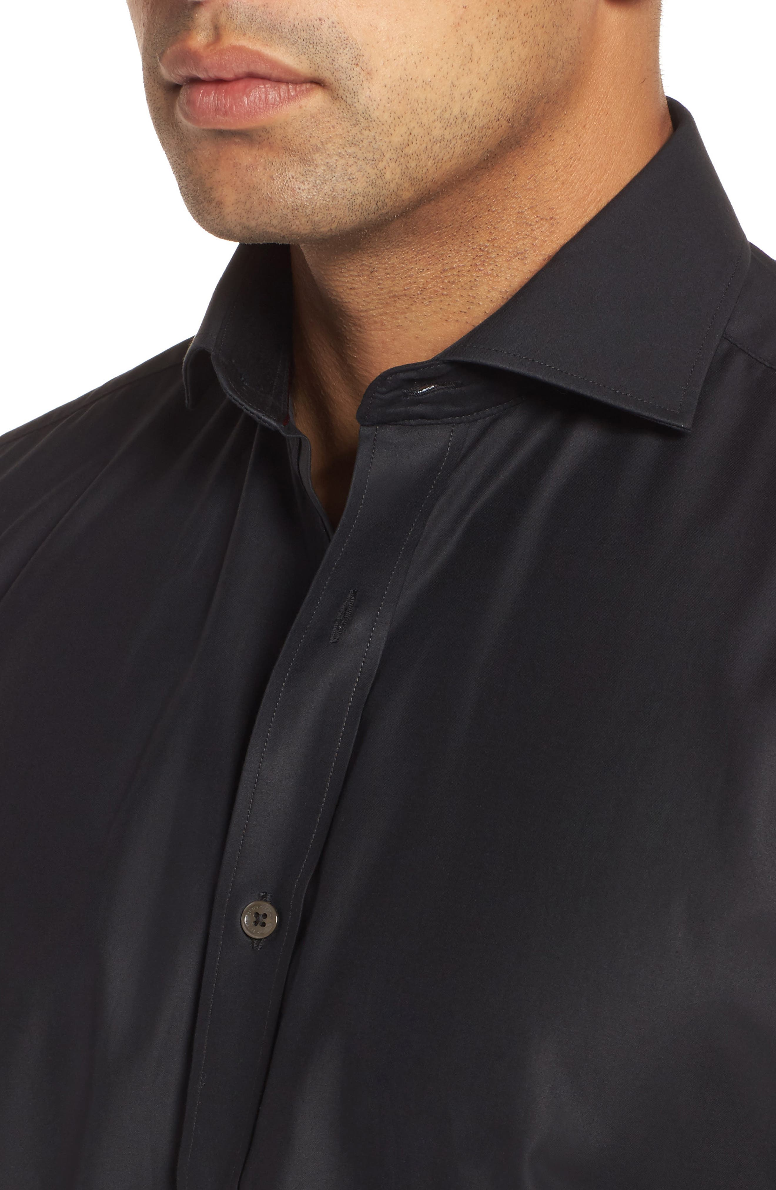 Classic Fit Solid Mercerized Cotton Sport Shirt,                             Alternate thumbnail 4, color,                             001