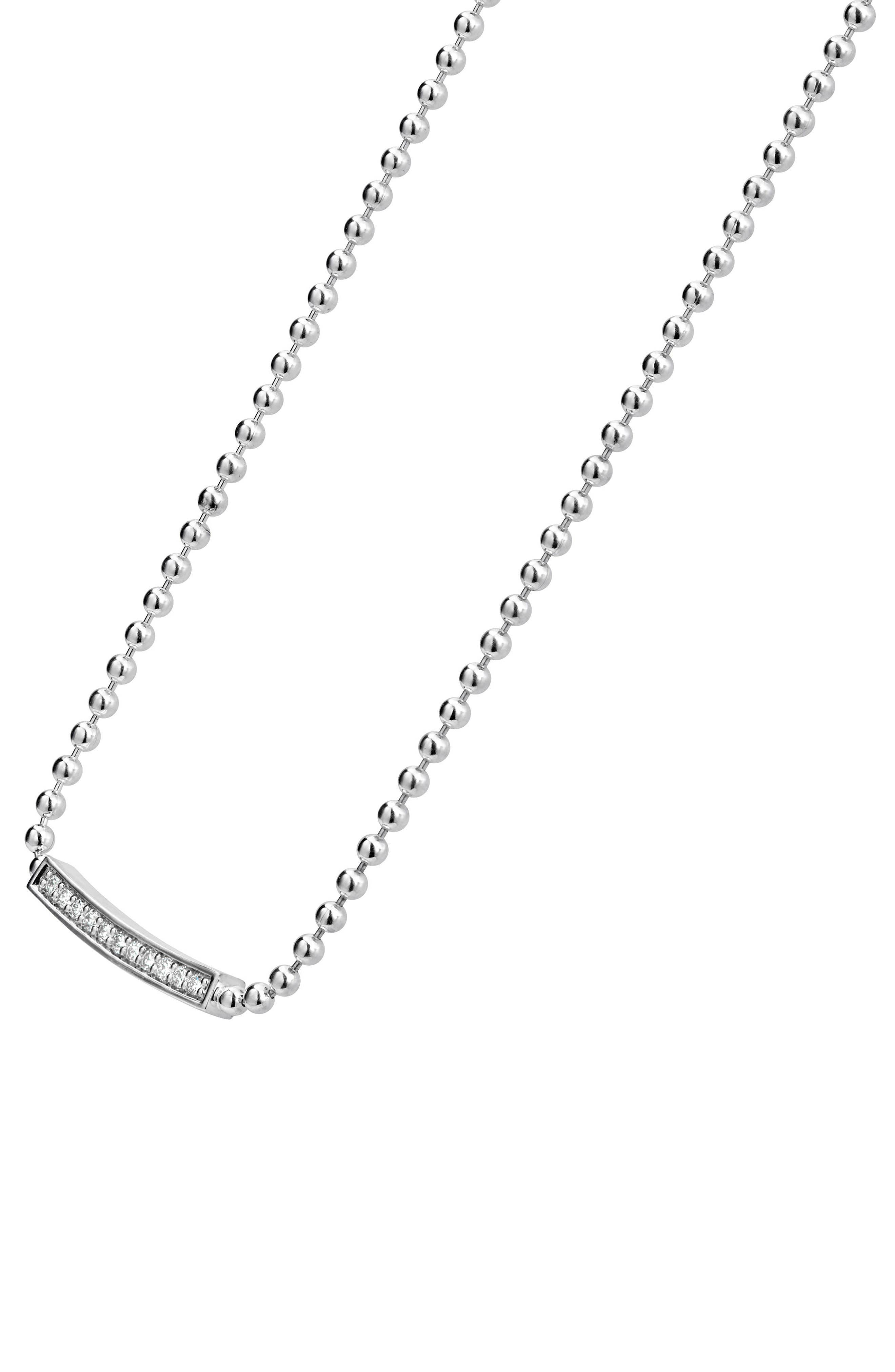 Caviar Spark Diamond Pendant Necklace,                             Alternate thumbnail 5, color,                             SILVER/ DIAMOND