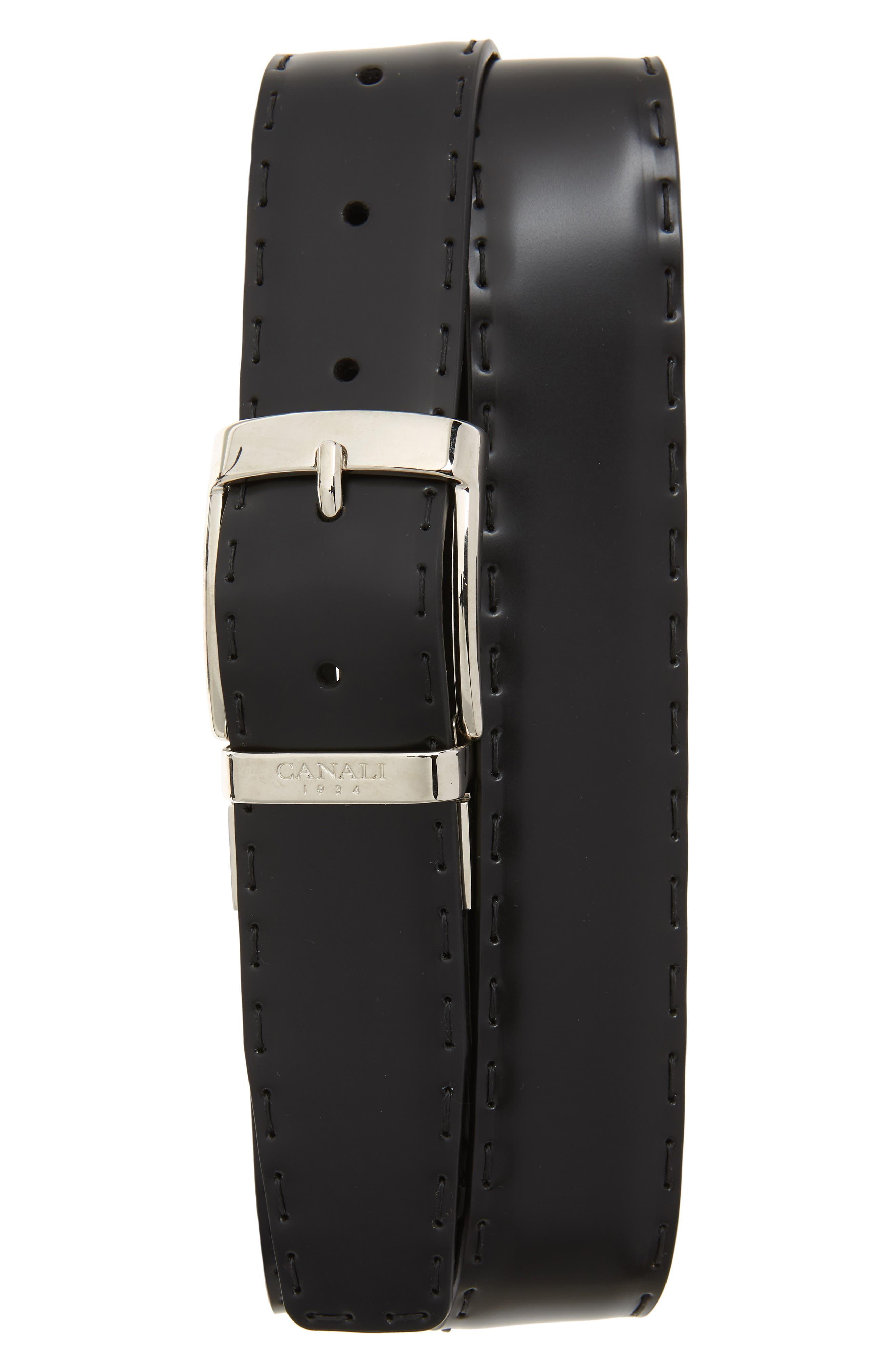Reversible Hand Sewn Leather Belt,                             Main thumbnail 1, color,                             BLACK