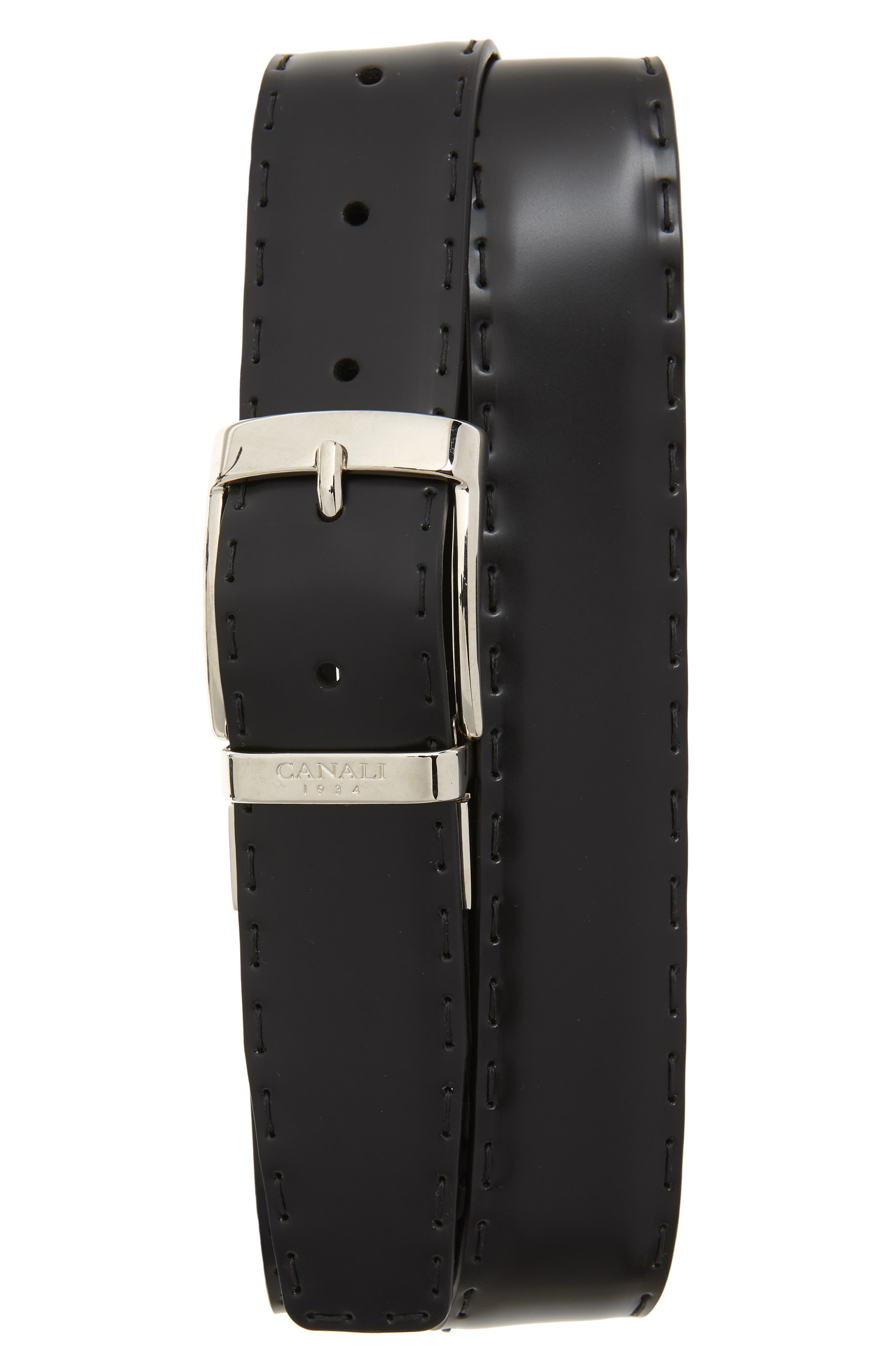Reversible Hand Sewn Leather Belt,                         Main,                         color, BLACK