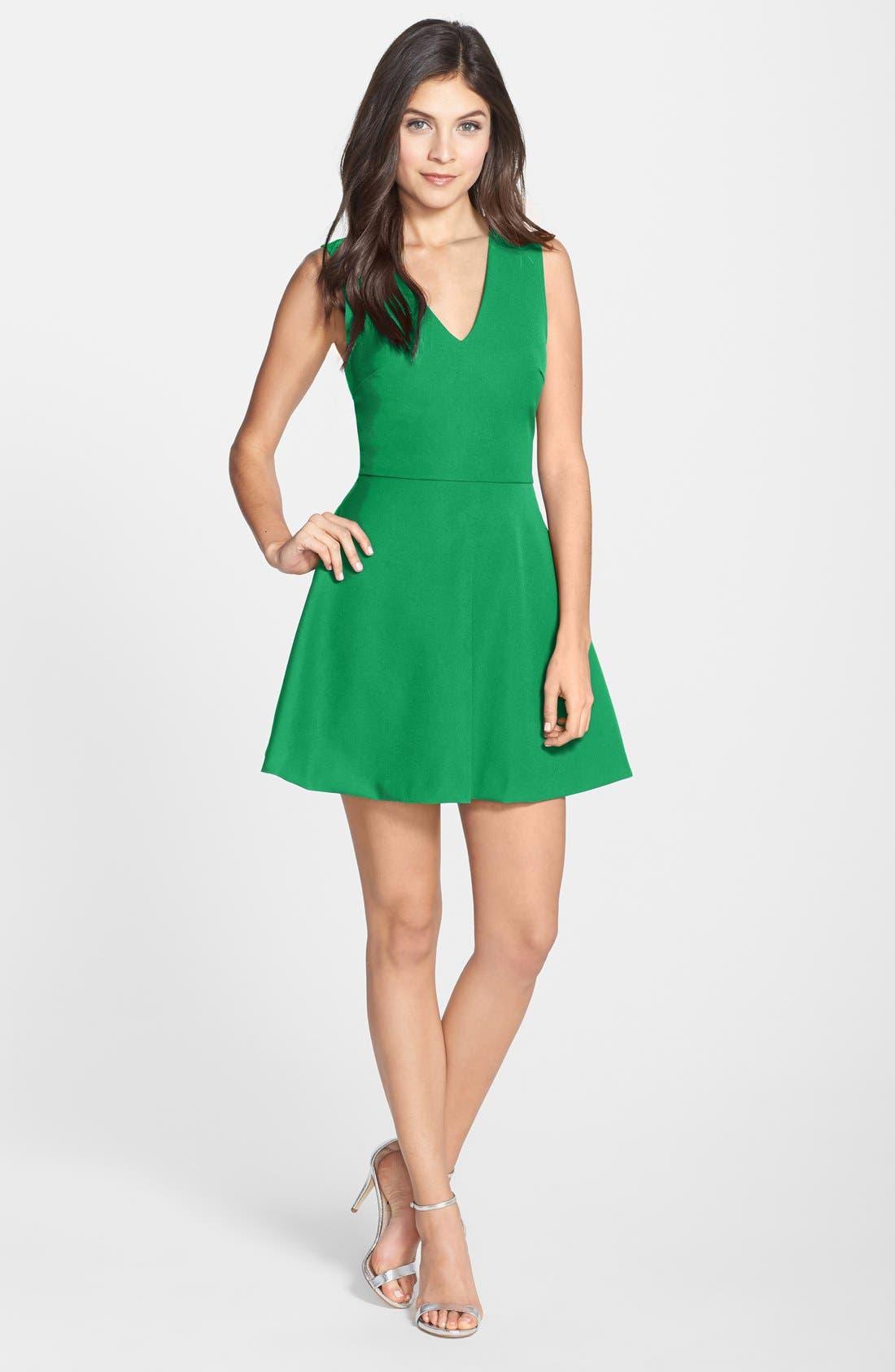 Bianca Back Cutout Fit & Flare Dress,                             Main thumbnail 3, color,
