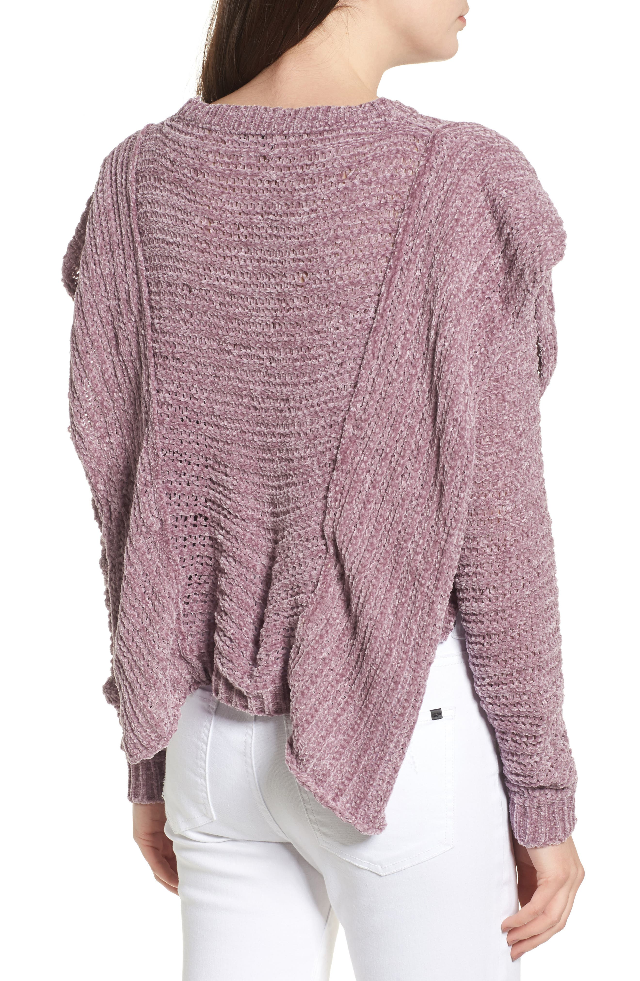 Ruffle Chenille Sweater,                             Alternate thumbnail 4, color,