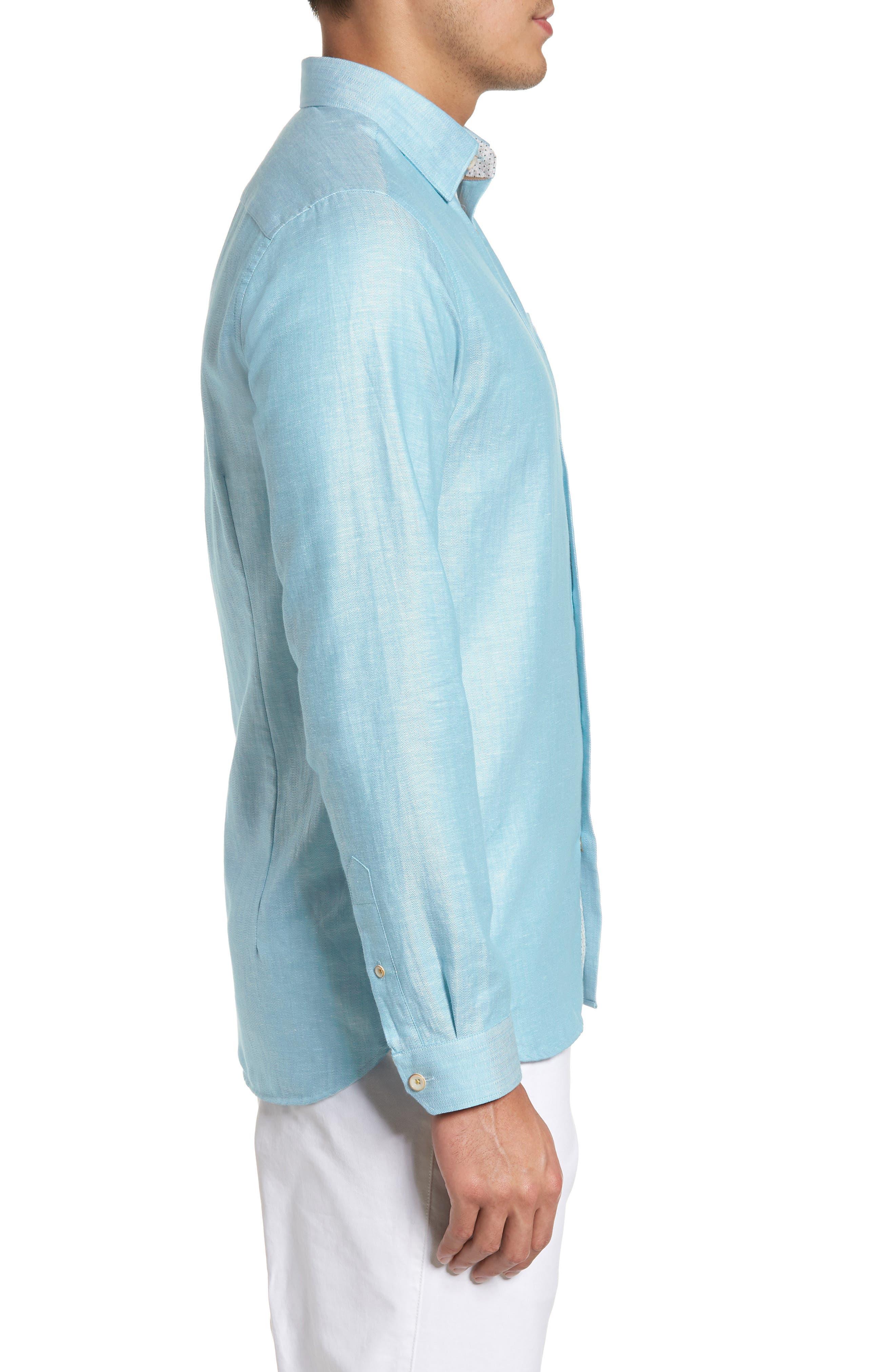 Linlins Herringbone Cotton & Linen Sport Shirt,                             Alternate thumbnail 14, color,