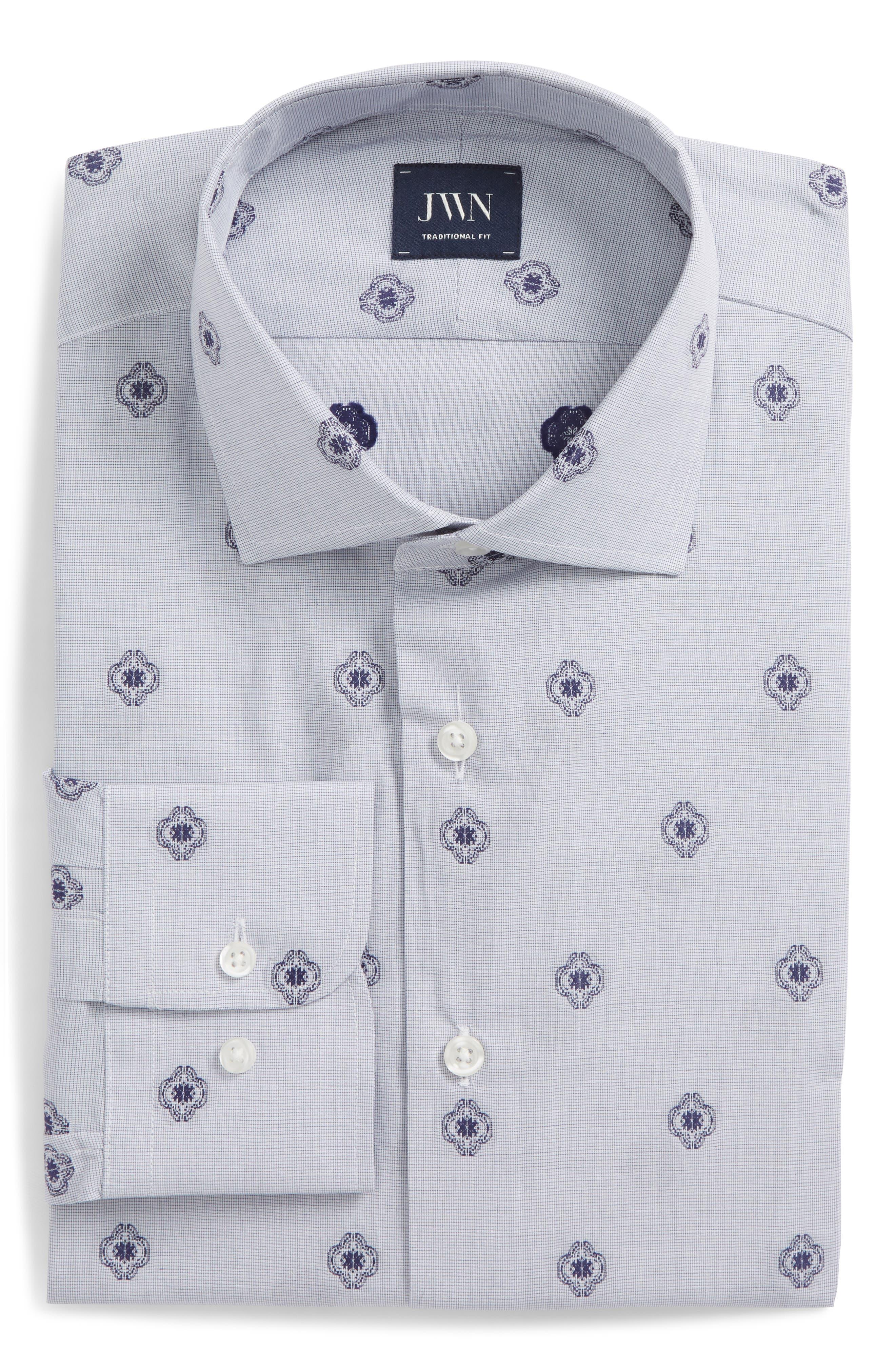 Trim Fit Medallion Dress Shirt,                         Main,                         color, 410