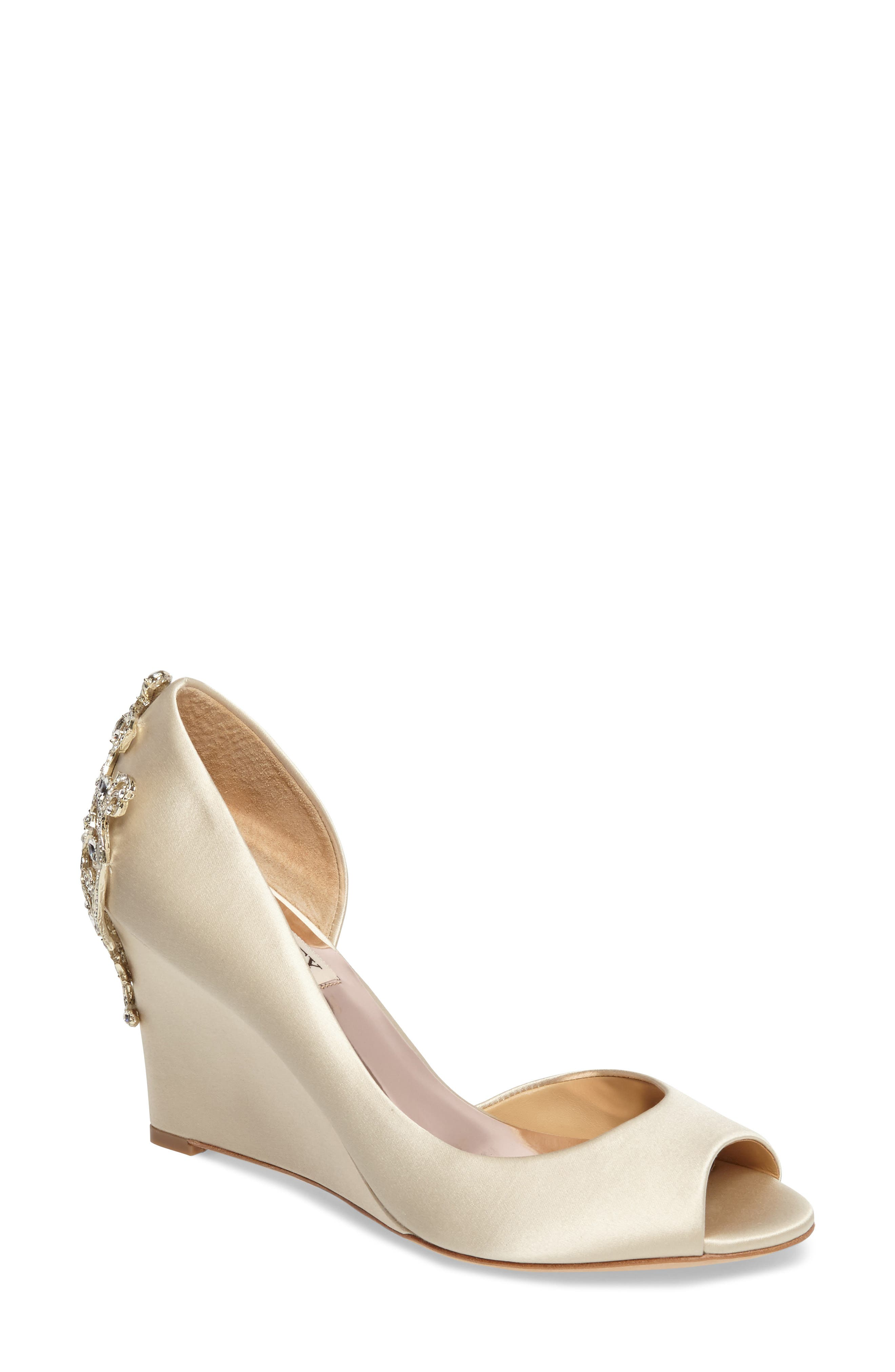 Meagan Embellished Peep Toe Wedge,                             Main thumbnail 1, color,                             IVORY SATIN