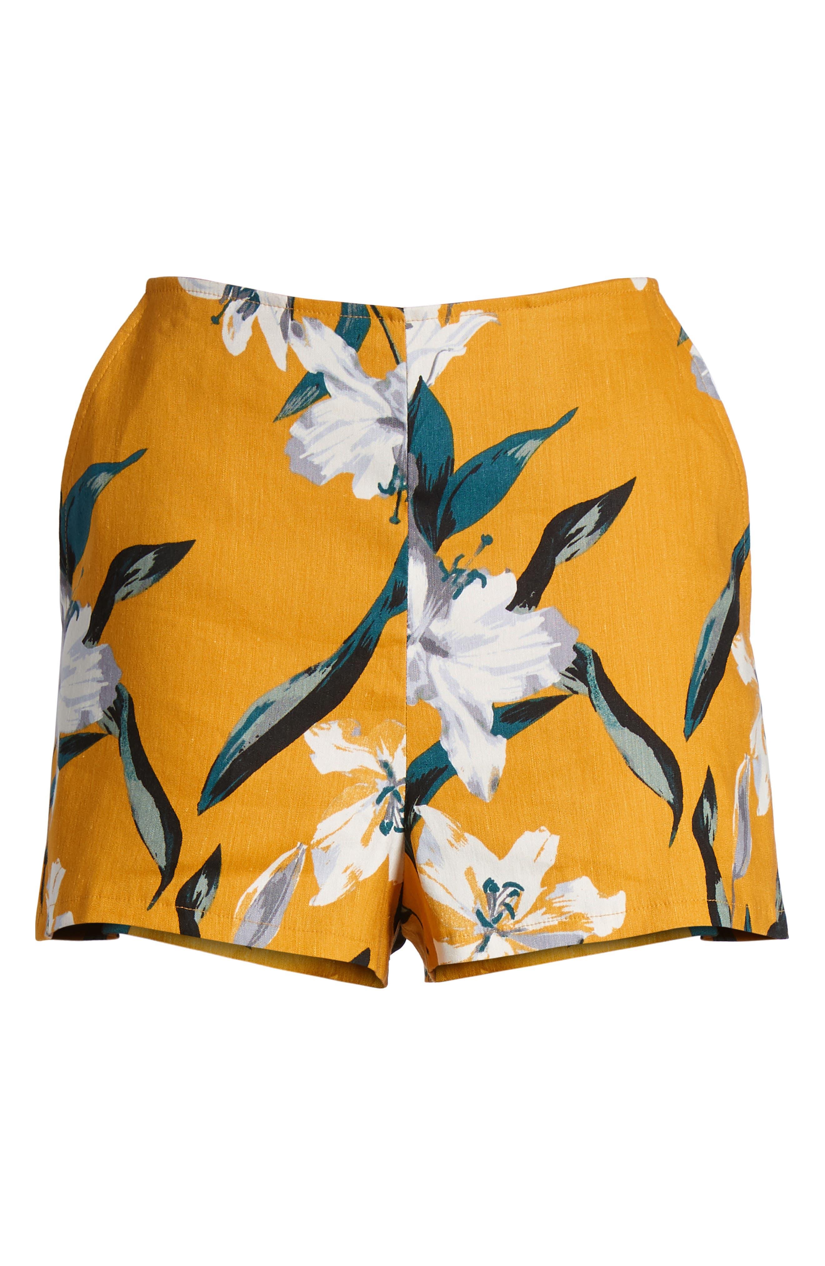 High Waist Linen Blend Shorts,                             Alternate thumbnail 28, color,