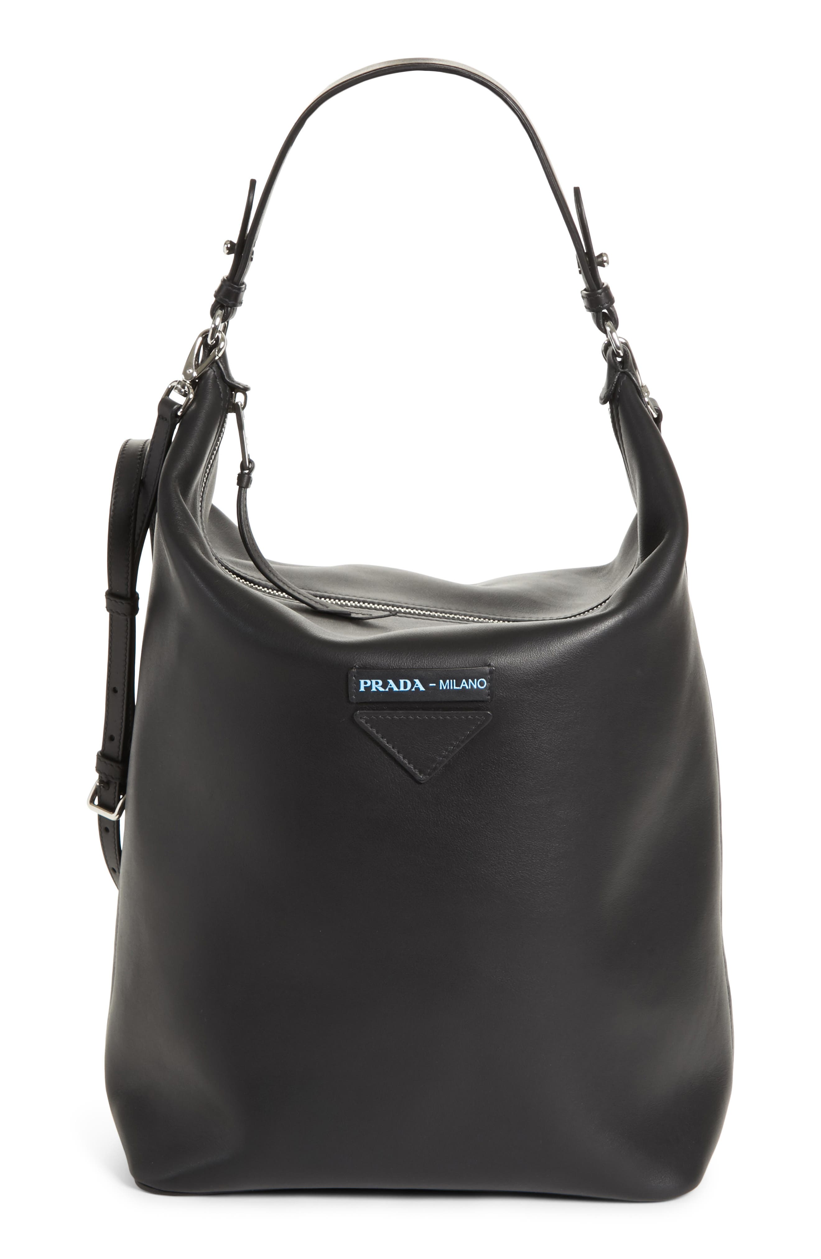 Concept Calfskin Leather Hobo,                         Main,                         color, 001