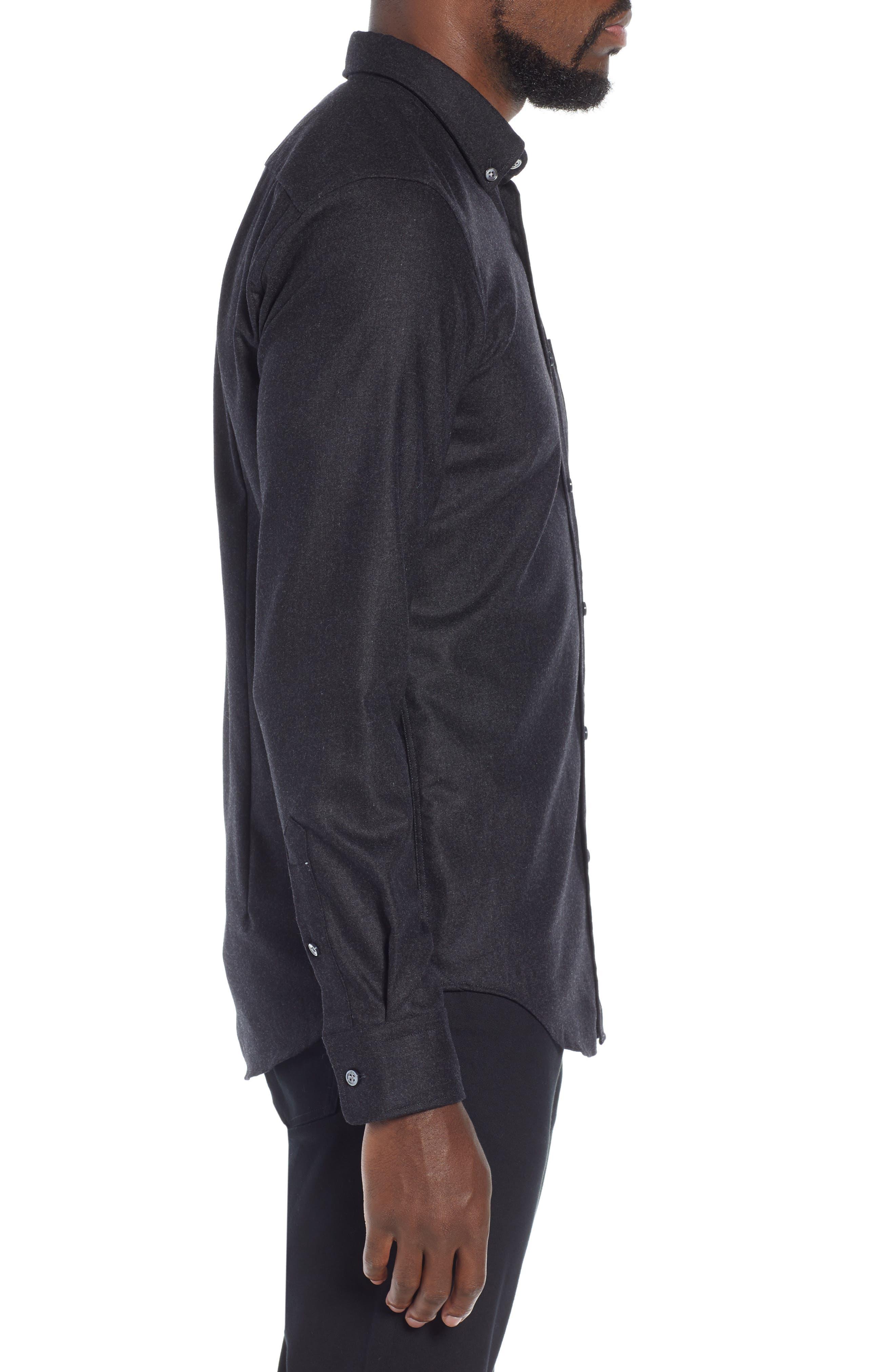 T-Rafael Long Sleeve Slim Fit Flannel Sport Shirt,                             Alternate thumbnail 4, color,                             GREY