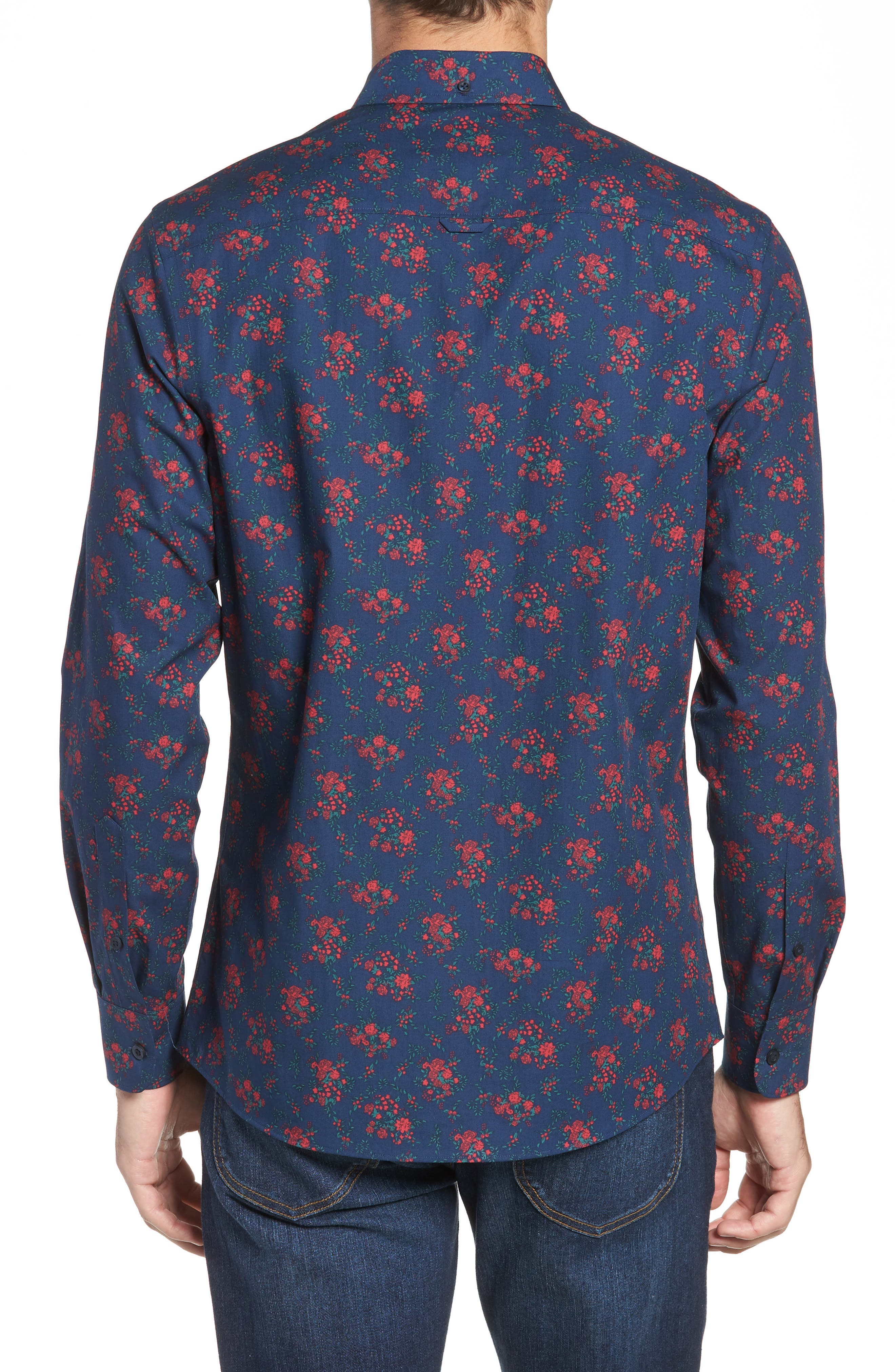 Slim Fit Print No-Iron Sport Shirt,                             Alternate thumbnail 3, color,                             NAVY NIGHT RED FLORAL