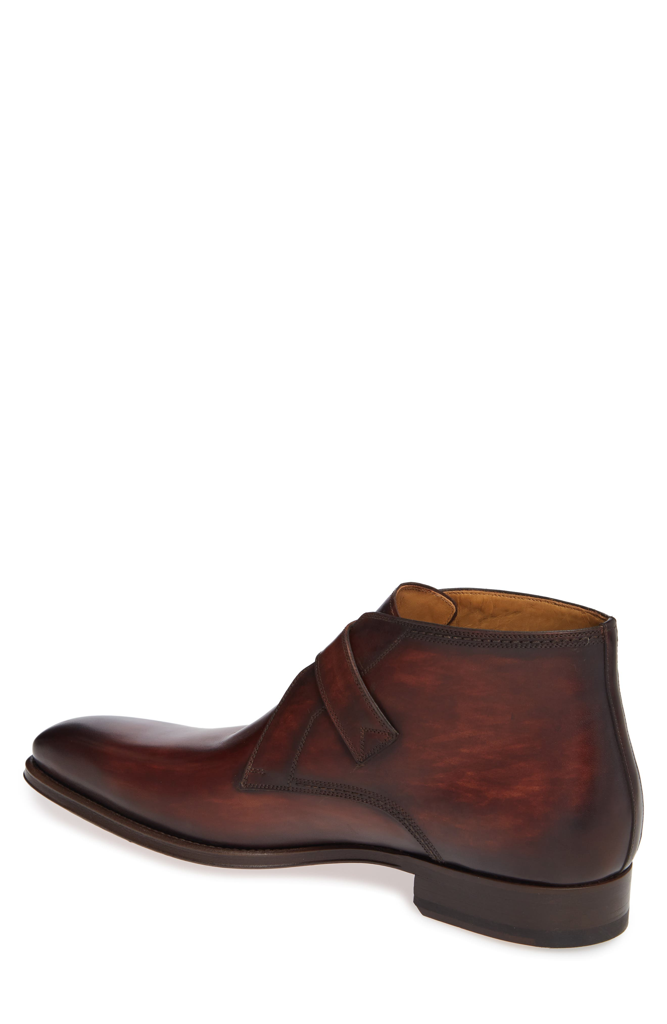 MAGNANNI,                             Luka Monk Strap Boot,                             Alternate thumbnail 2, color,                             MID BROWN LEATHER