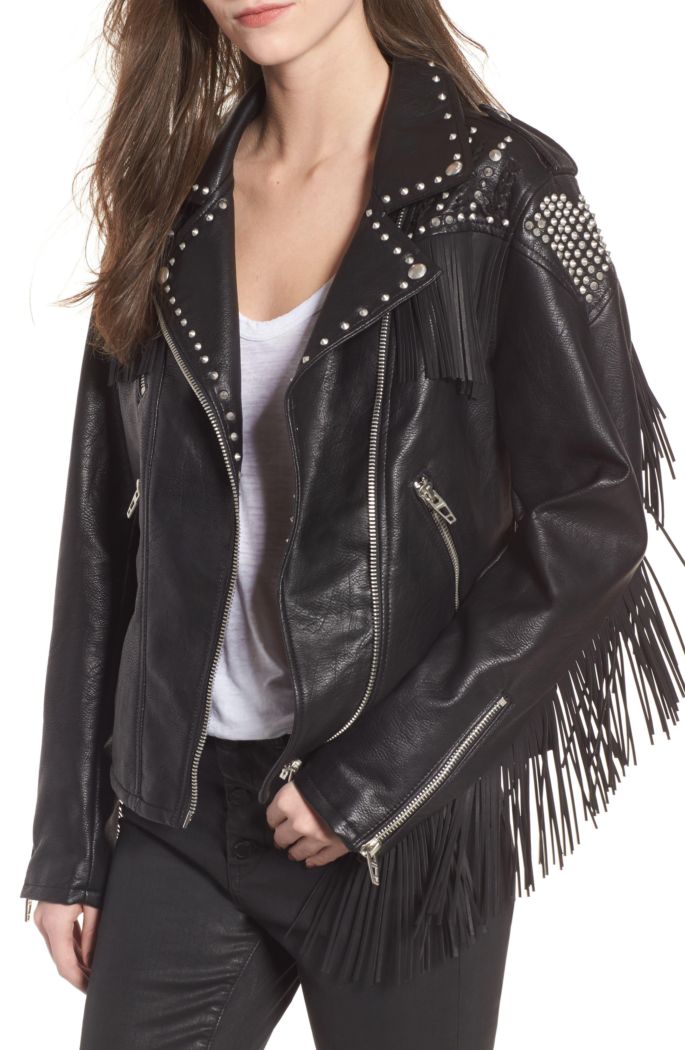 Studded Fringe Faux Leather Moto Jacket,                             Main thumbnail 1, color,                             001