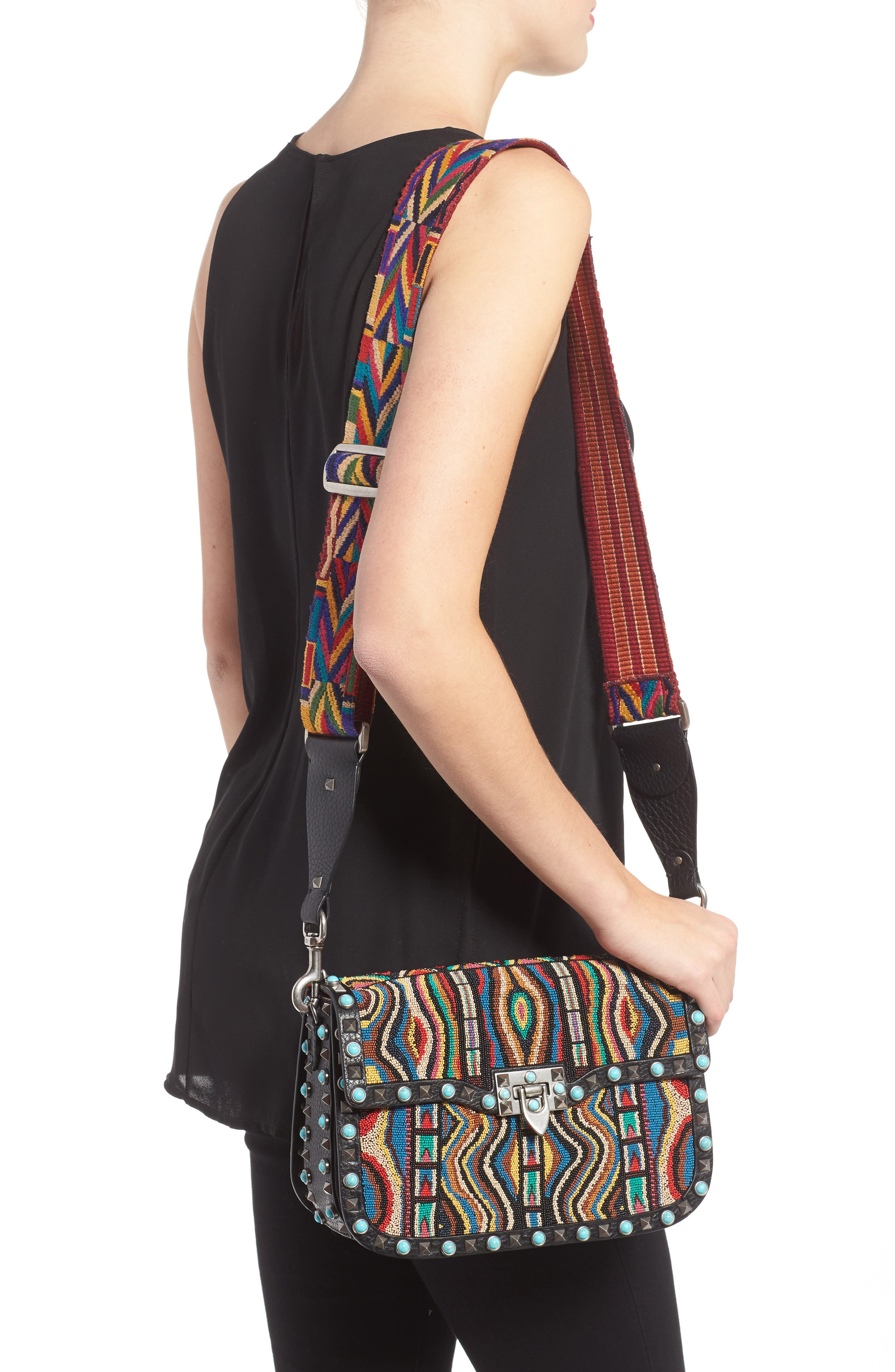 Valentino Rockstud Rolling Beaded Shoulder Bag with Embroidered Guitar Strap,                             Alternate thumbnail 2, color,                             001