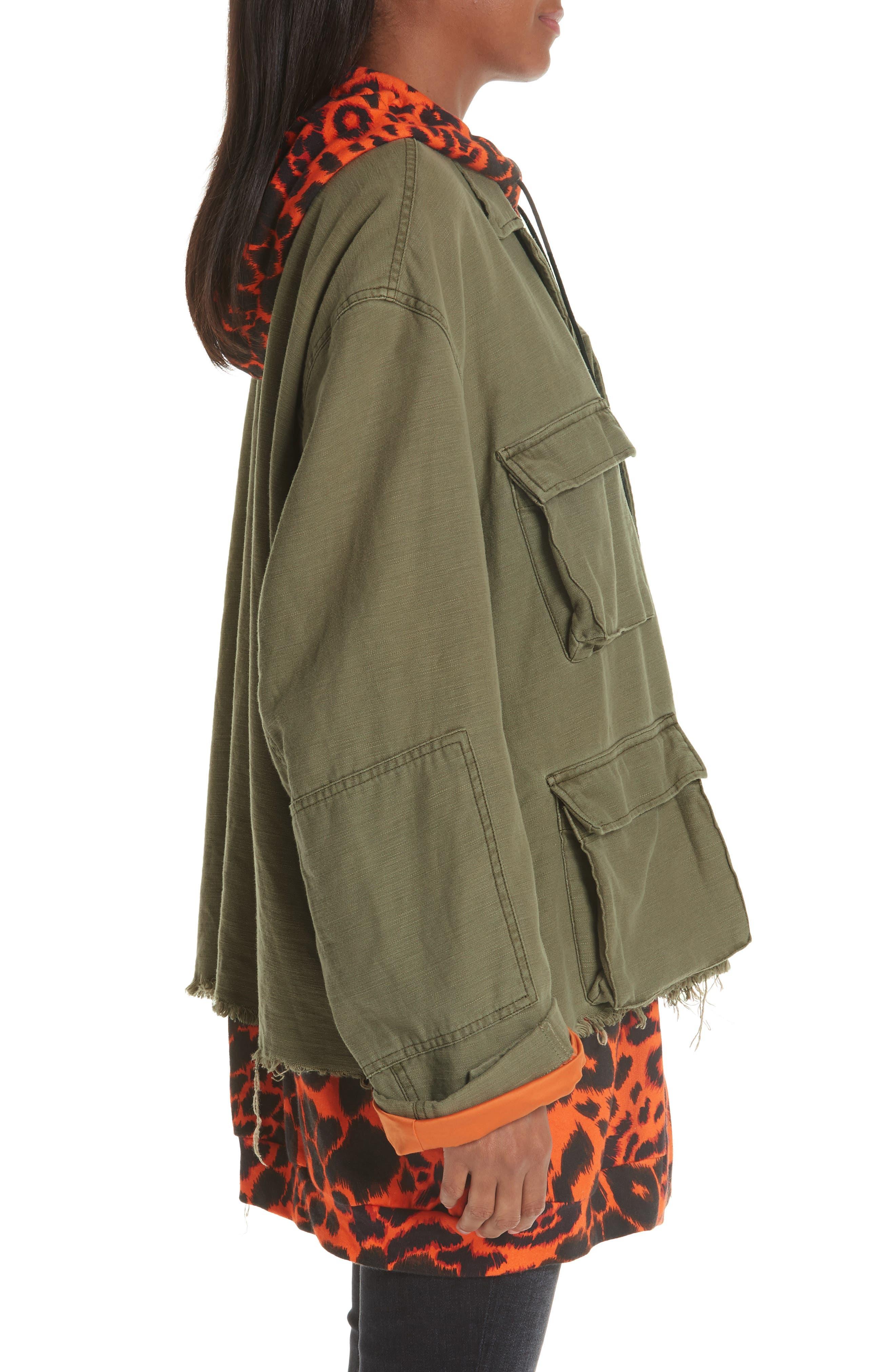 Abu Jacket with Long Leopard Print Hoodie,                             Alternate thumbnail 3, color,                             OLIVE/ ORANGE