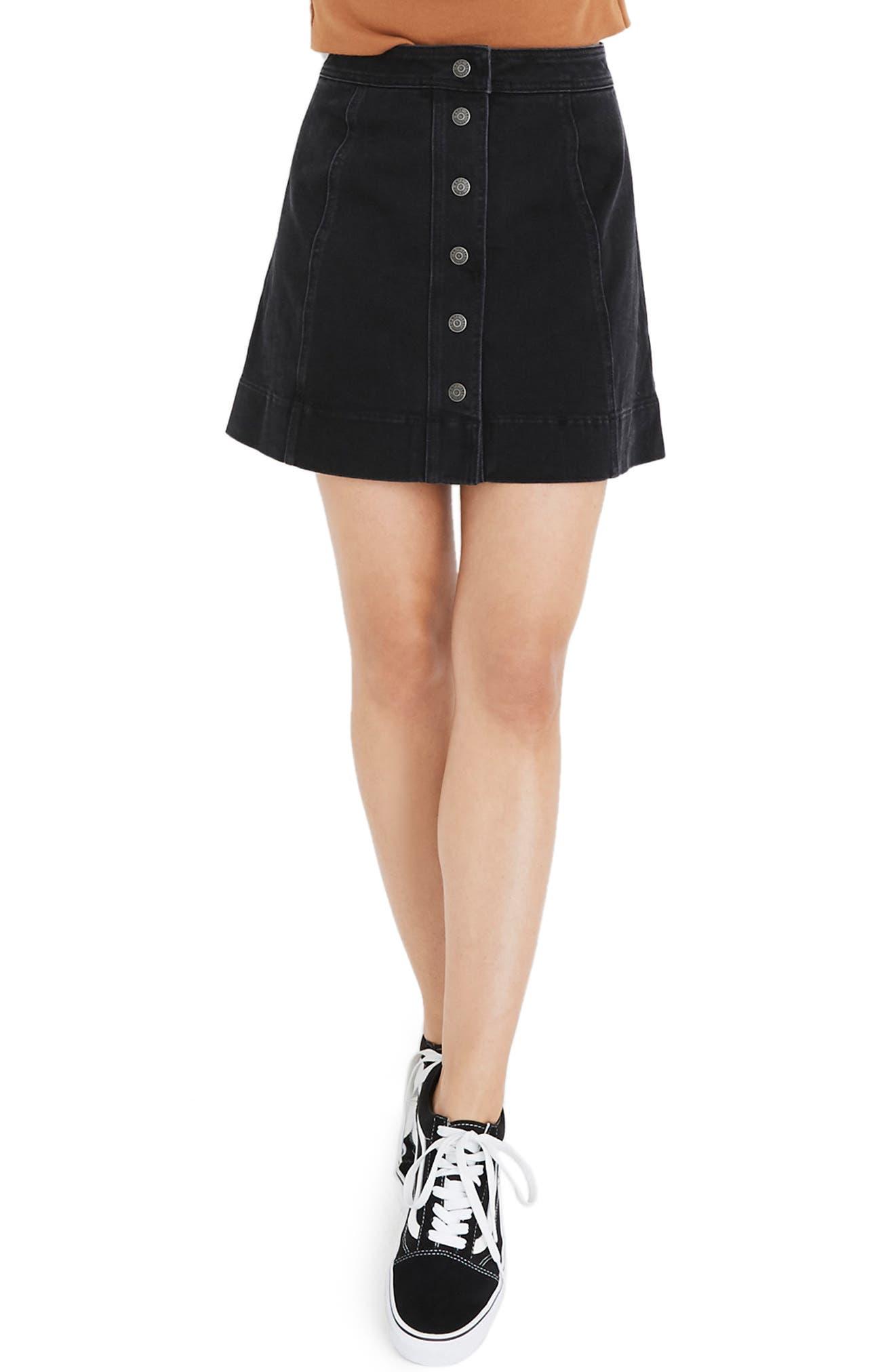 Madewell Metropolis Snap Front Denim Miniskirt, Black