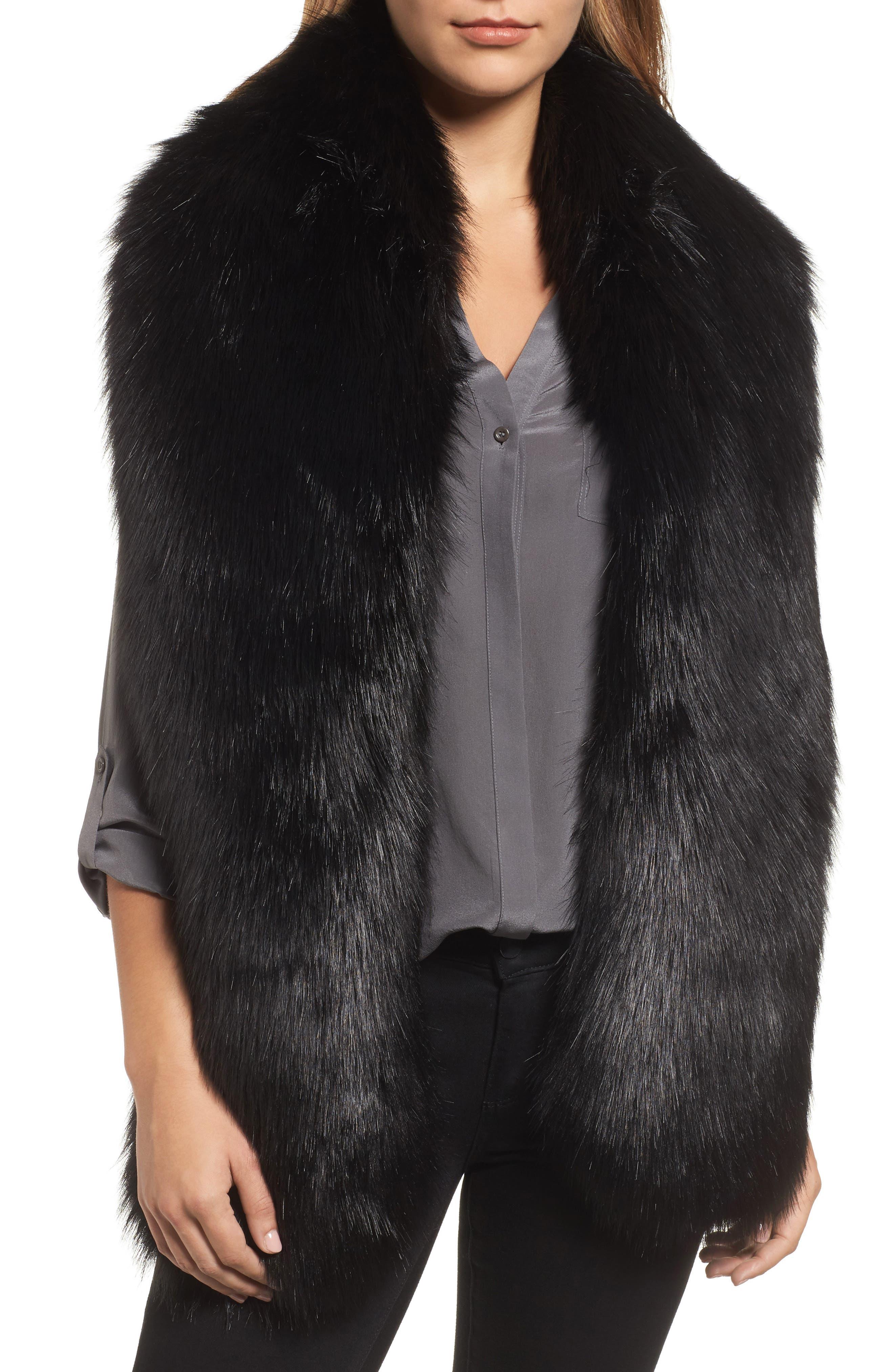 Faux Fox Fur Stole, Main, color, 001
