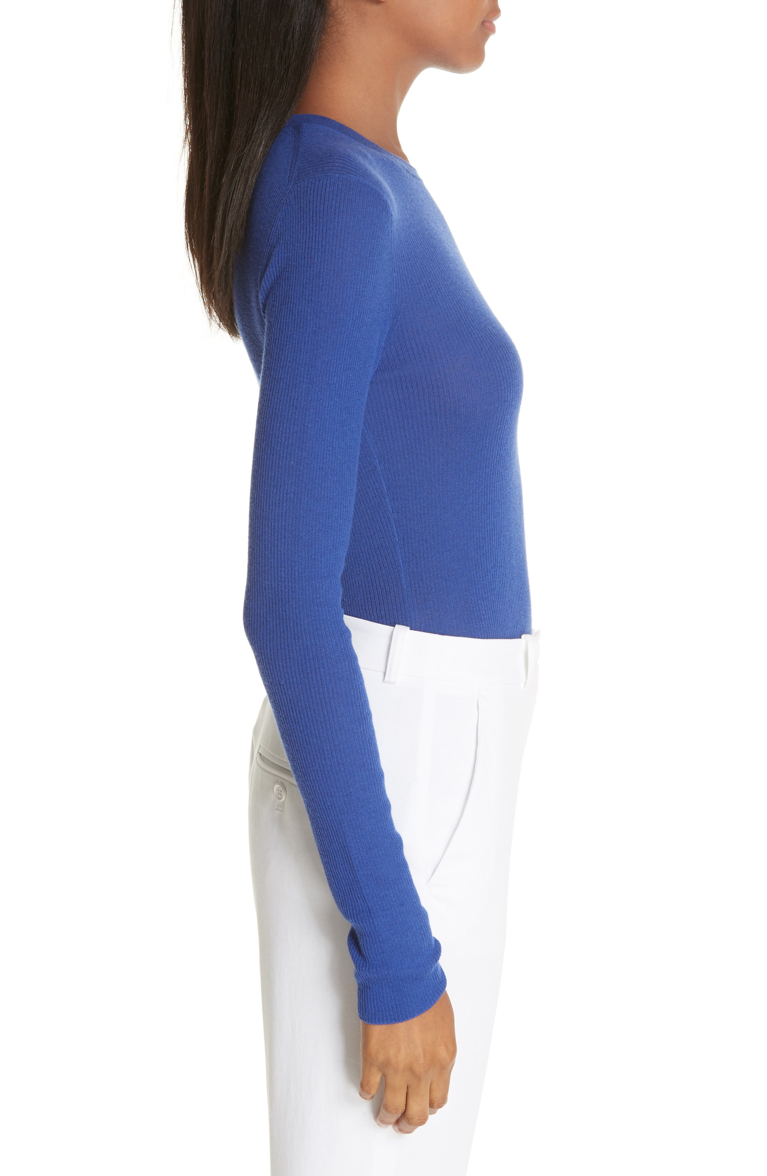 Ribbed Crewneck Sweater,                             Alternate thumbnail 3, color,                             LAPIS