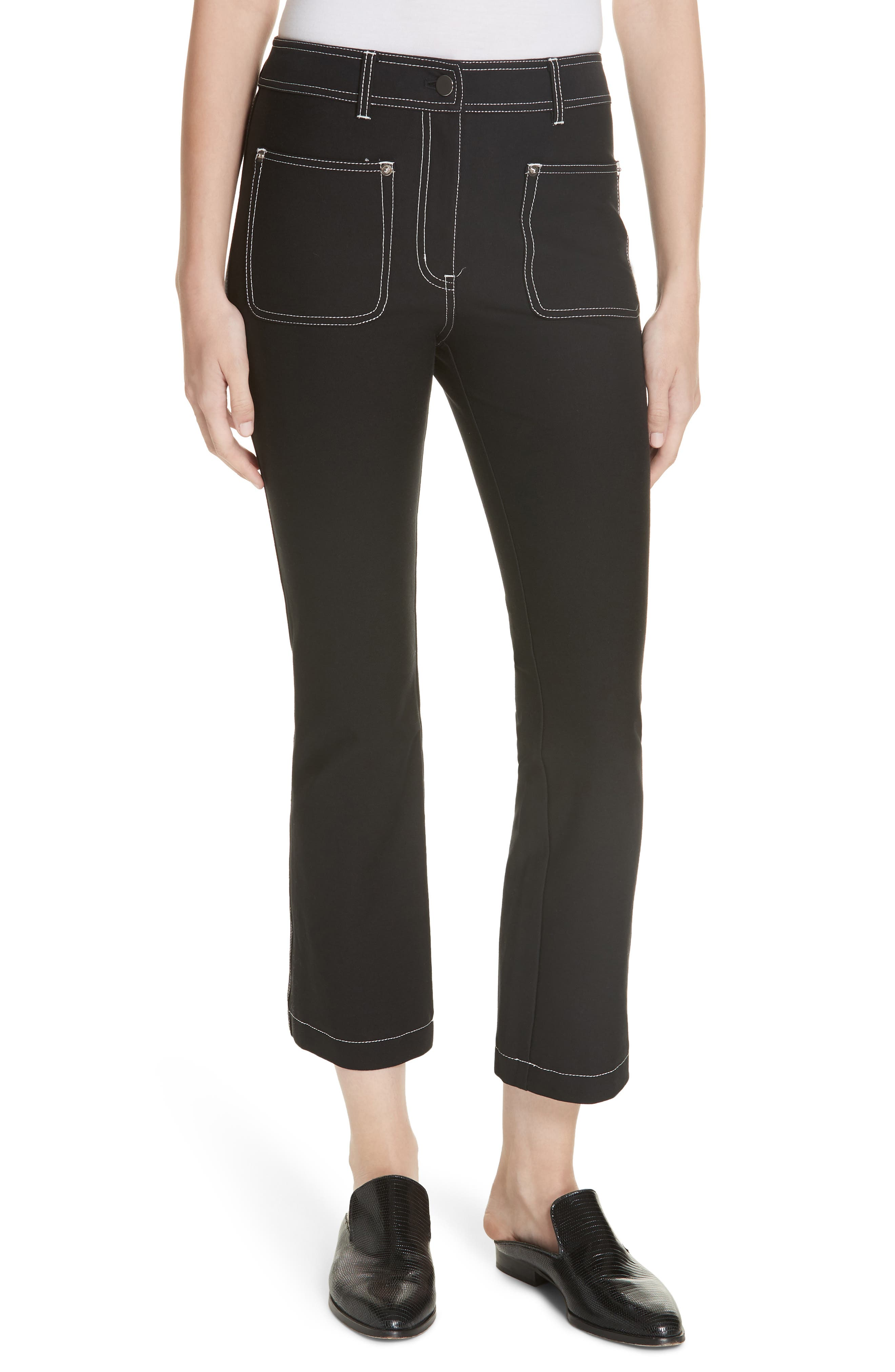 Cropped Patch-Pocket Flare-Leg Trousers in Black
