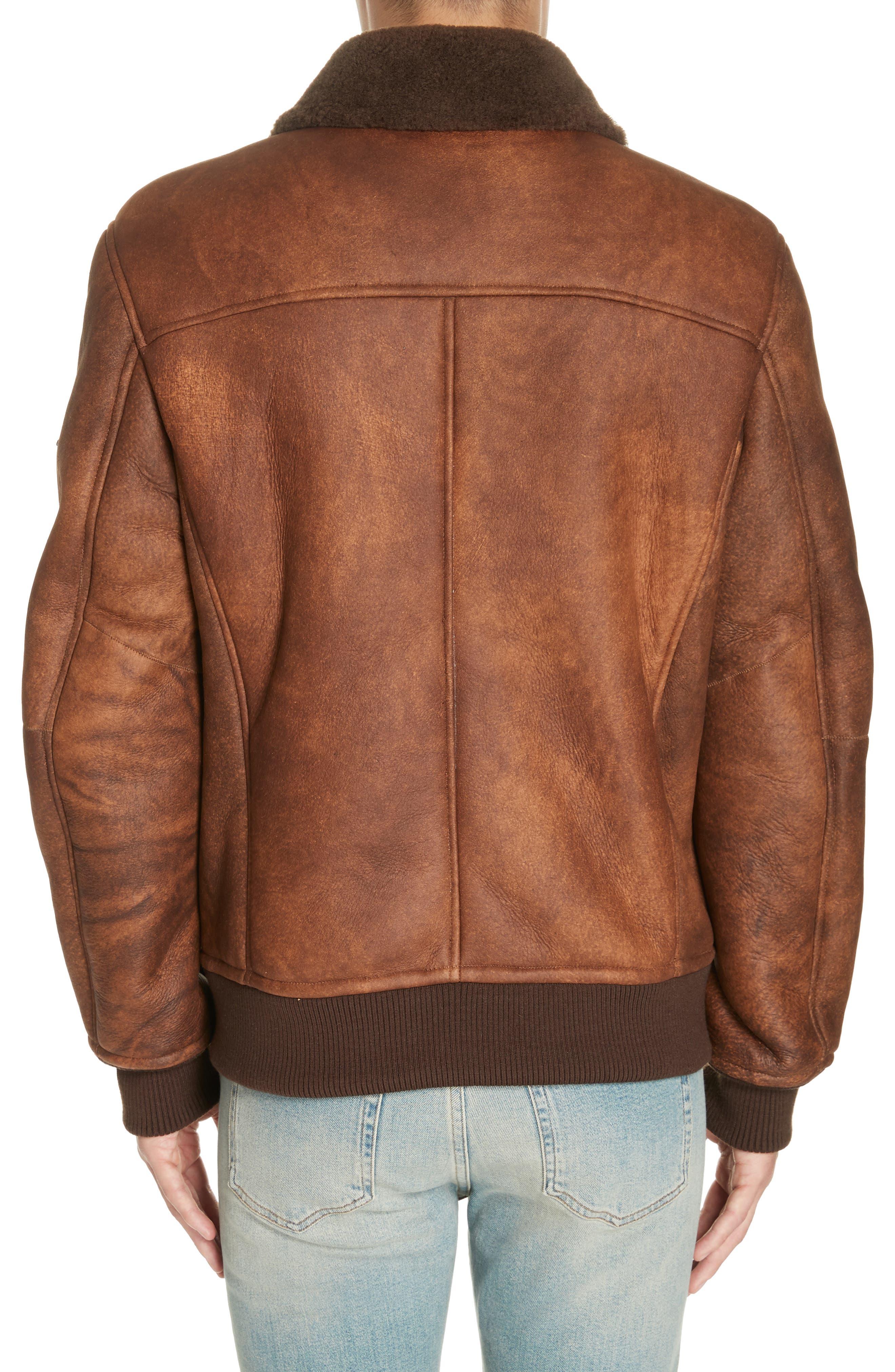 Genuine Shearling Aviator Jacket,                             Alternate thumbnail 2, color,                             BROWN