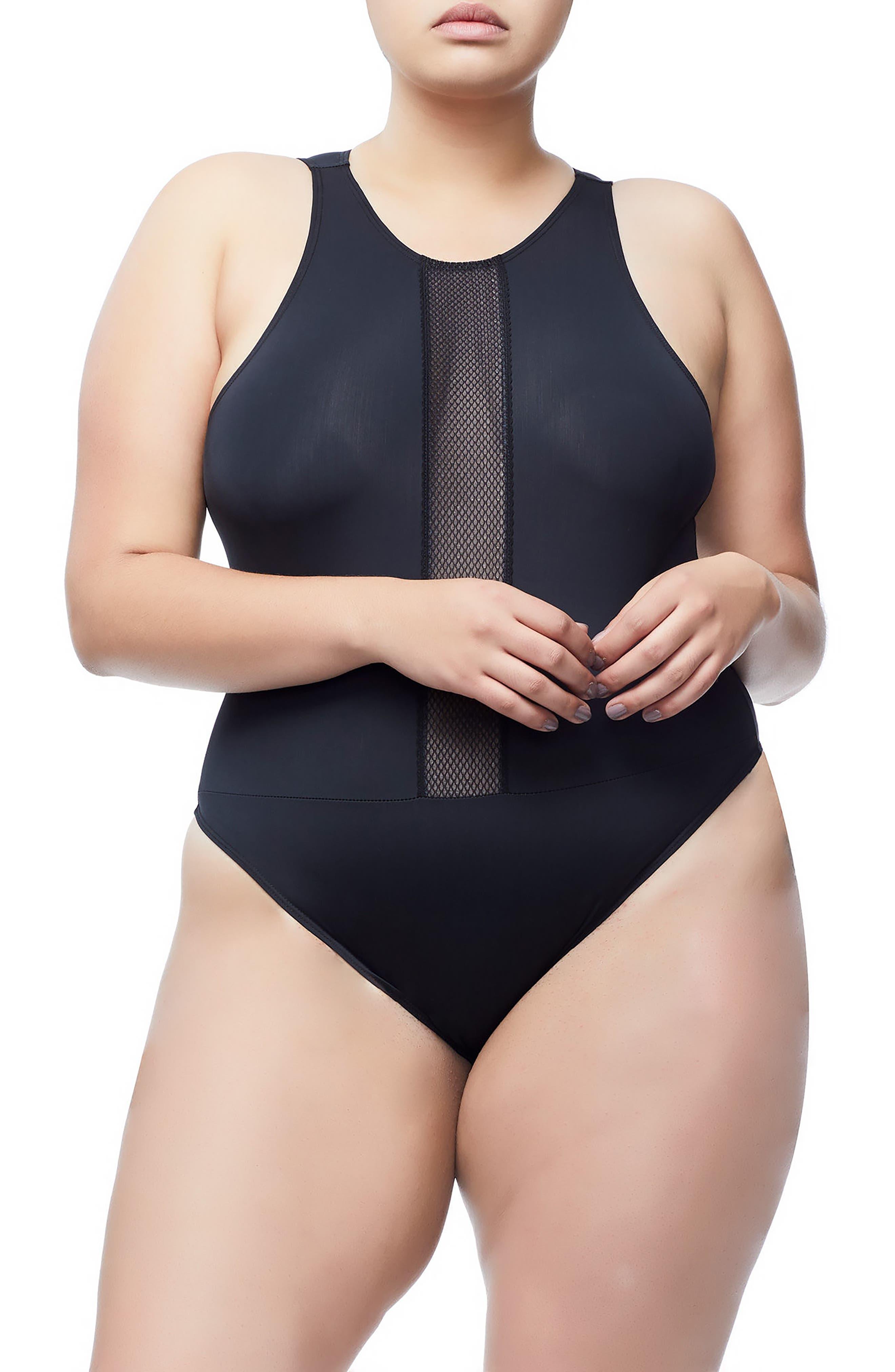Good Body Muscle Cutout Bodysuit,                             Alternate thumbnail 5, color,                             001