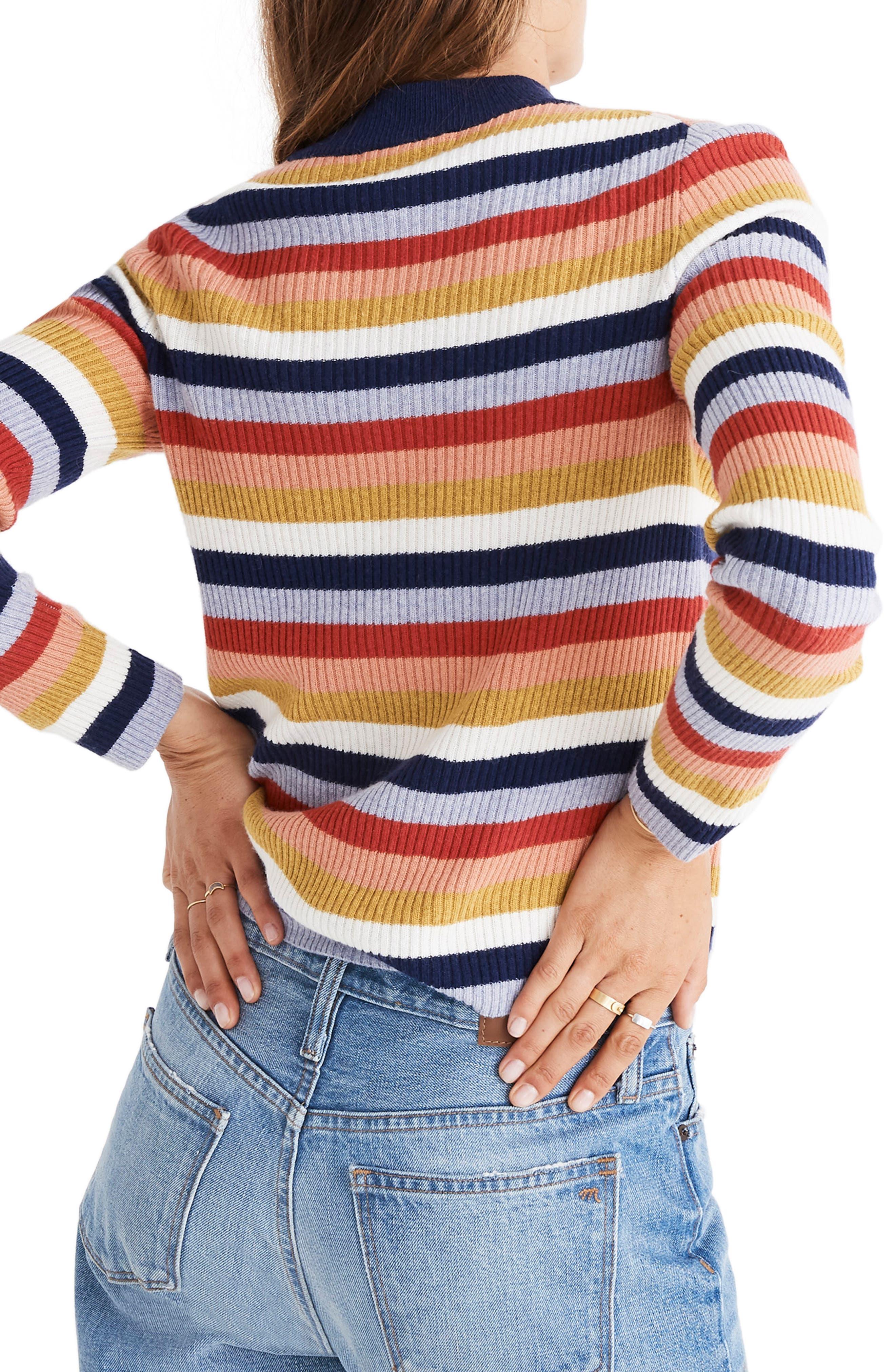 Stripe Mock Neck Pullover Sweater,                             Alternate thumbnail 2, color,                             BLUE NIGHT