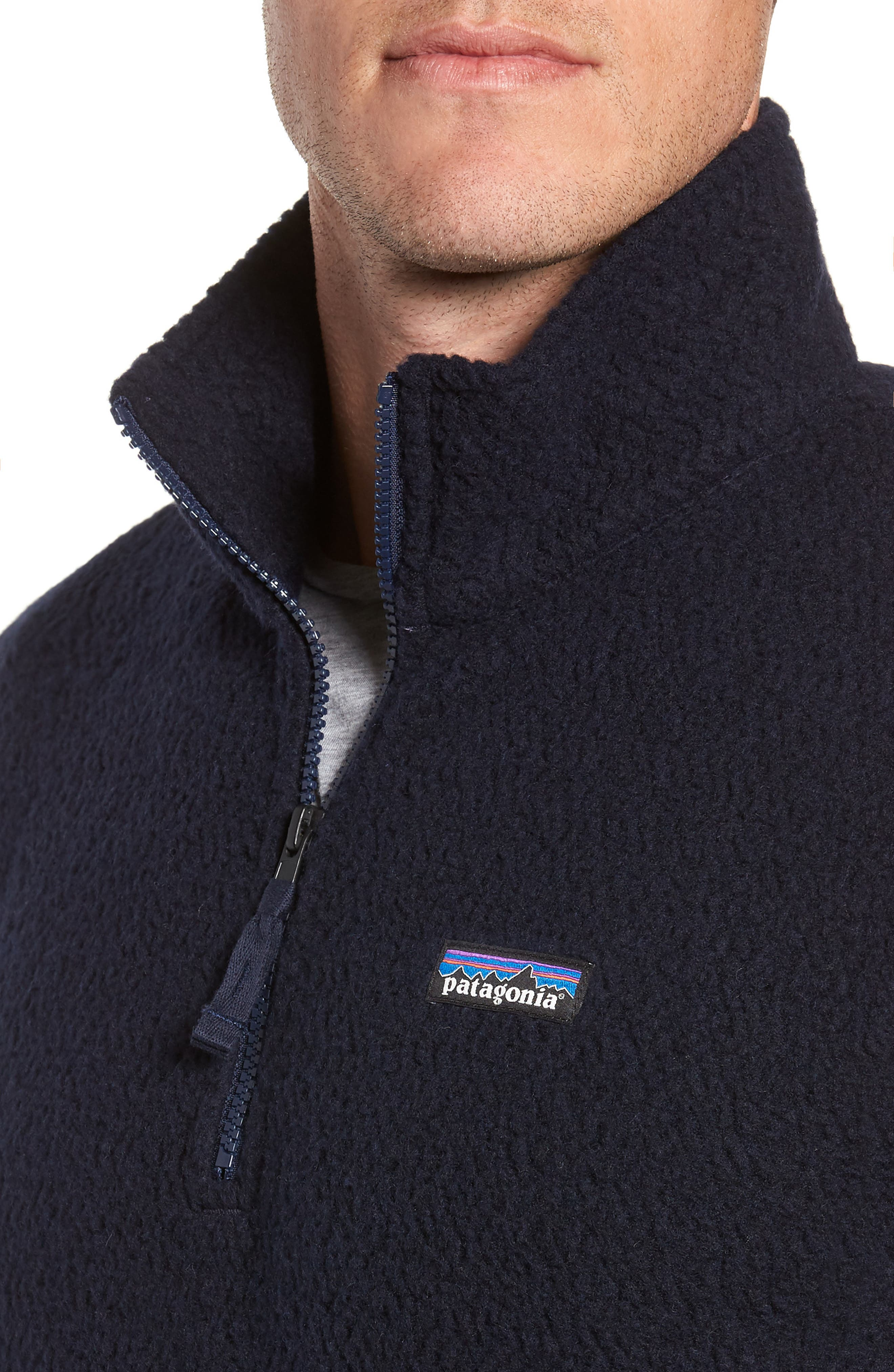 PATAGONIA,                             Woolyester Fleece Quarter Zip Pullover,                             Alternate thumbnail 4, color,                             CLASSIC NAVY
