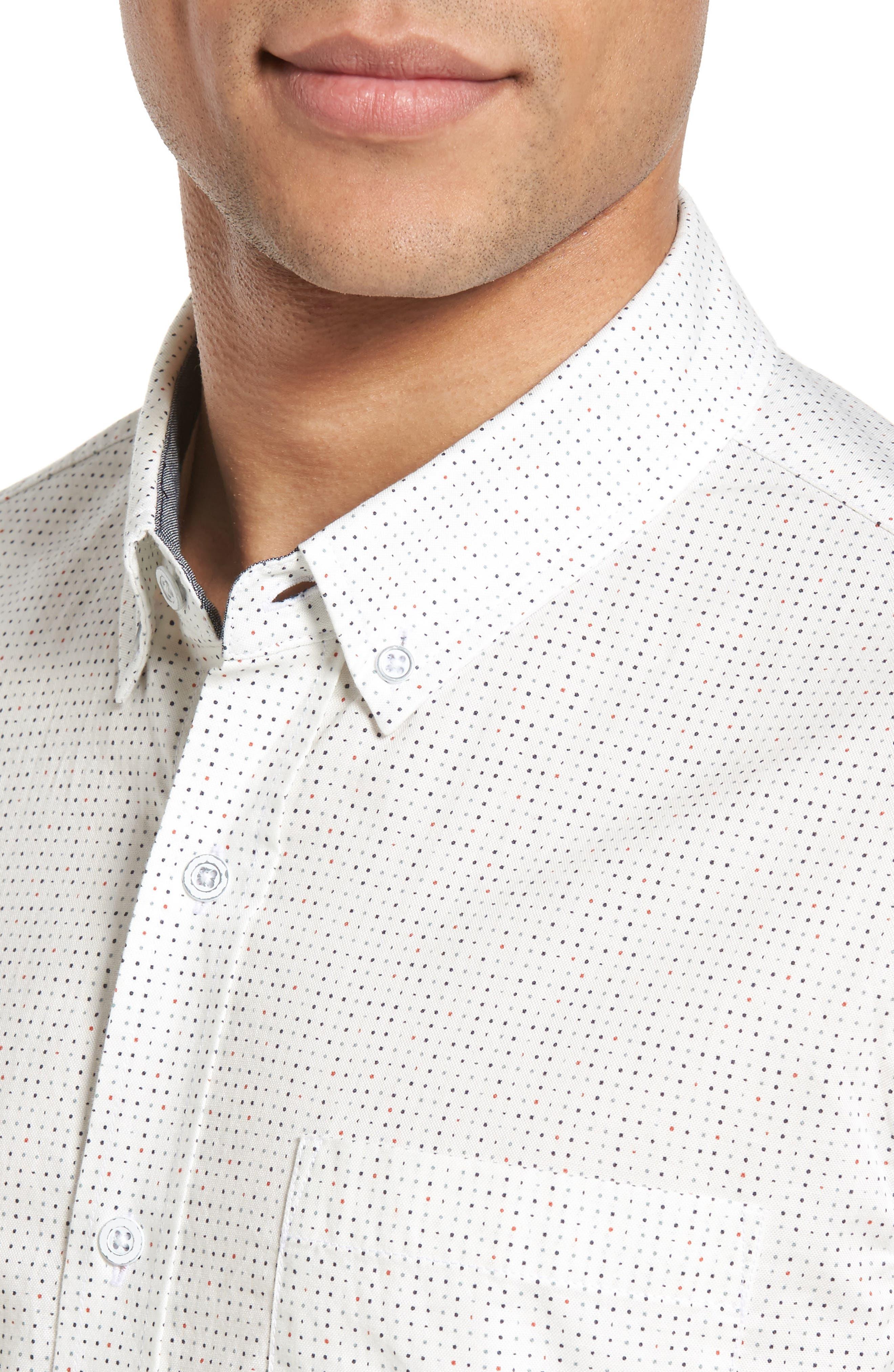 Nash Slim Fit Cotton Sport Shirt,                             Alternate thumbnail 4, color,                             100