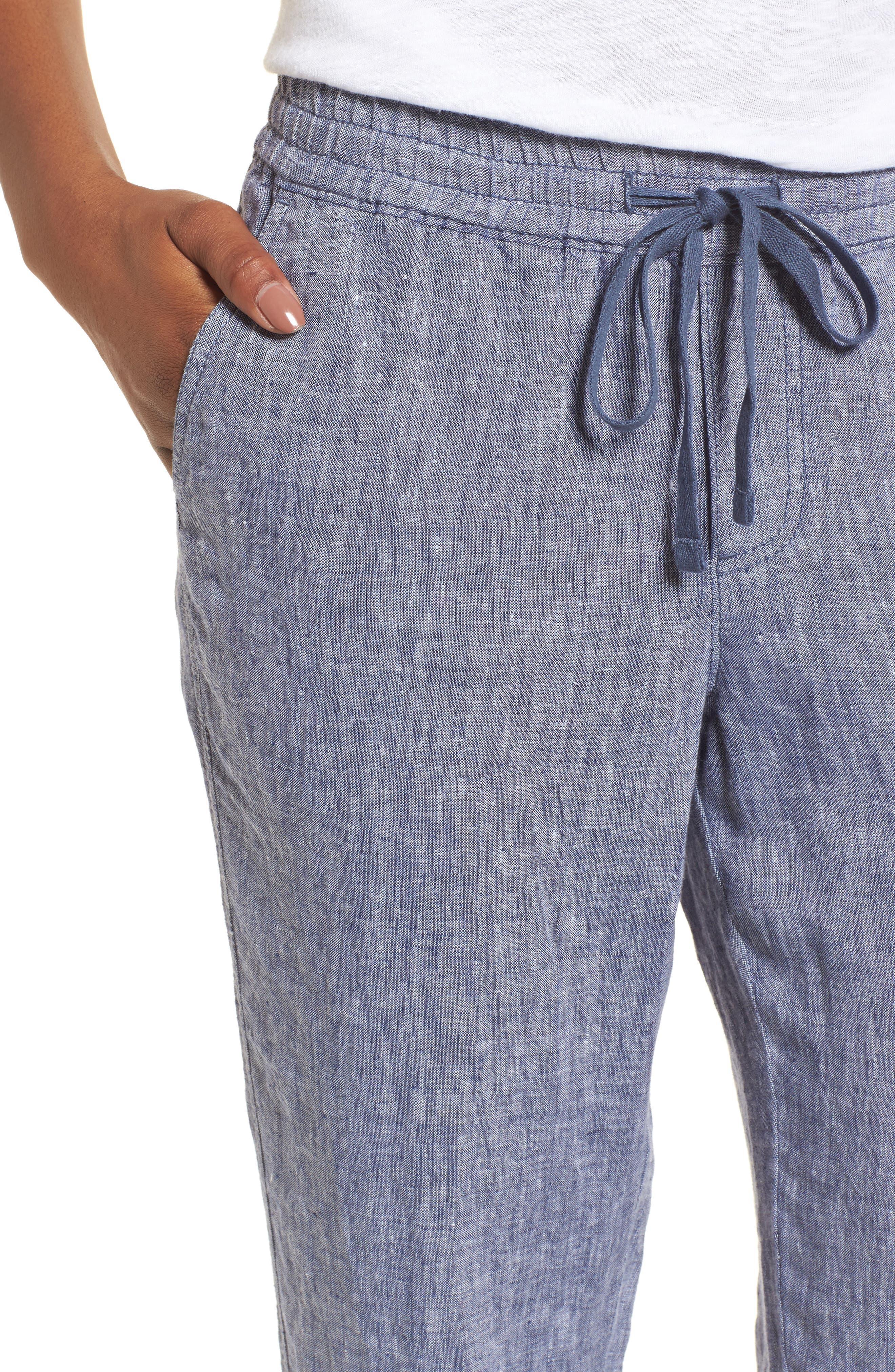 Linen Crop Pants,                             Alternate thumbnail 4, color,                             411