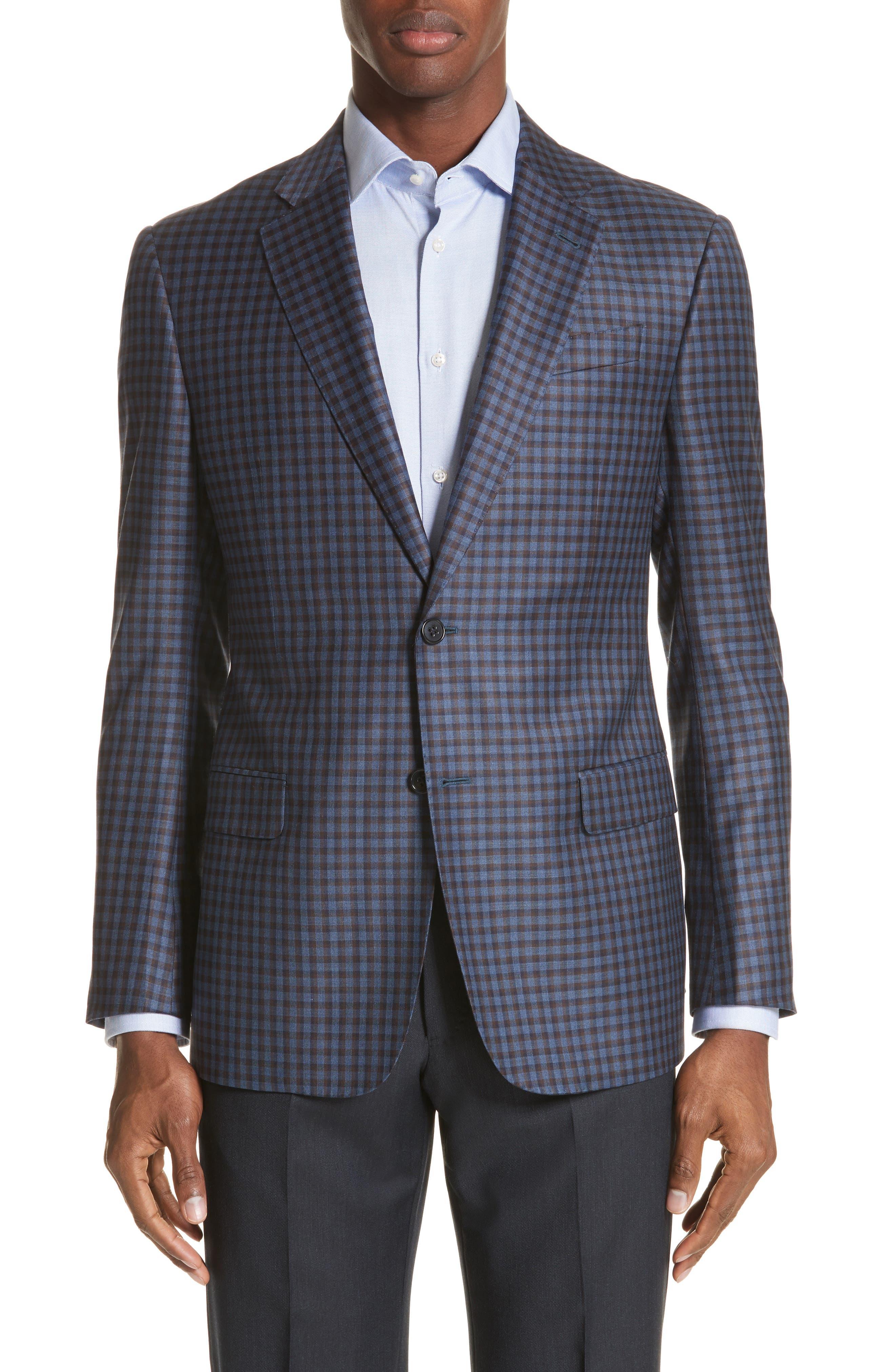 G Line Trim Fit Check Wool Sport Coat,                             Main thumbnail 1, color,                             443