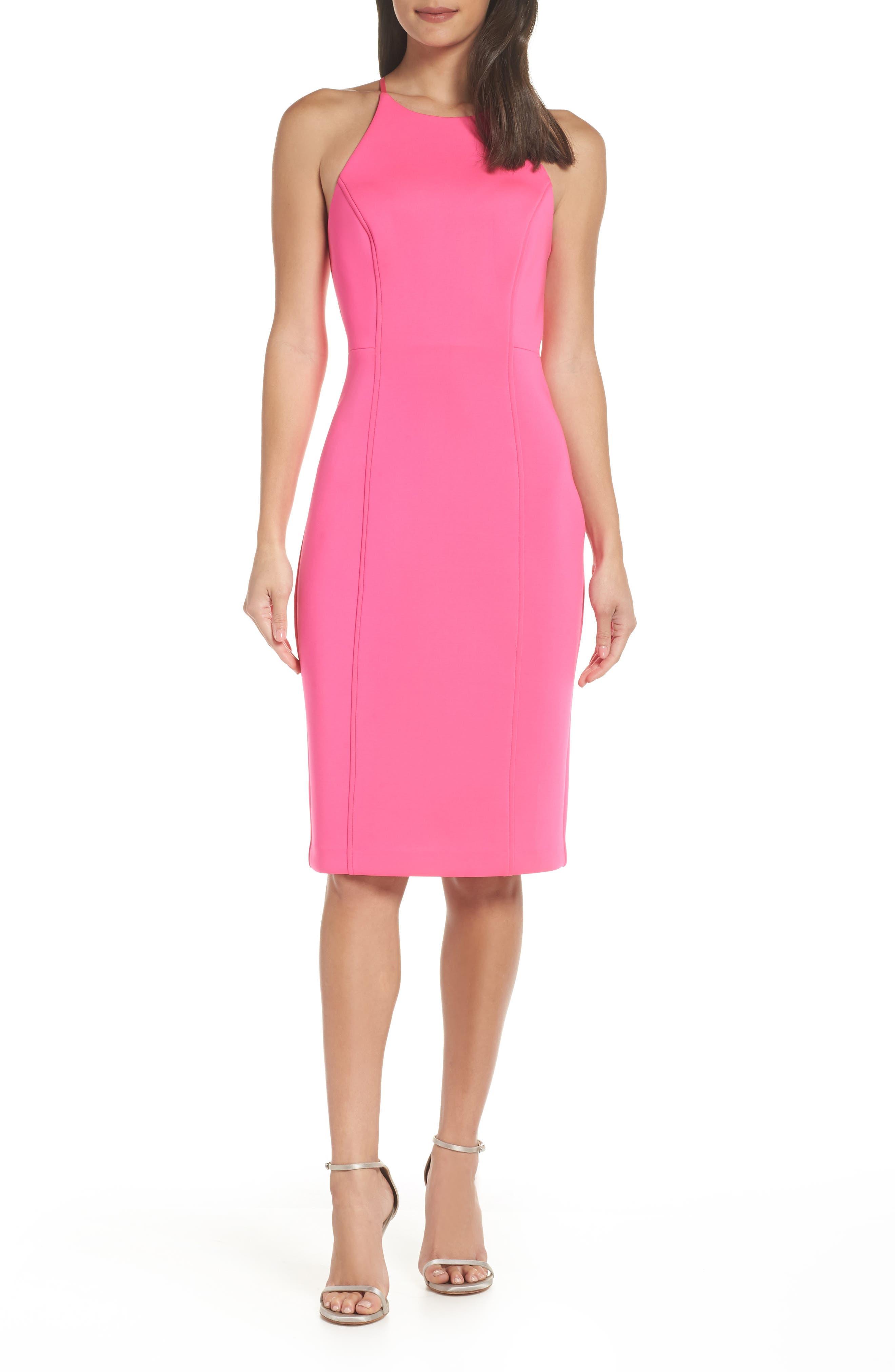 Chelsea28 Scuba Sheath Dress, Pink