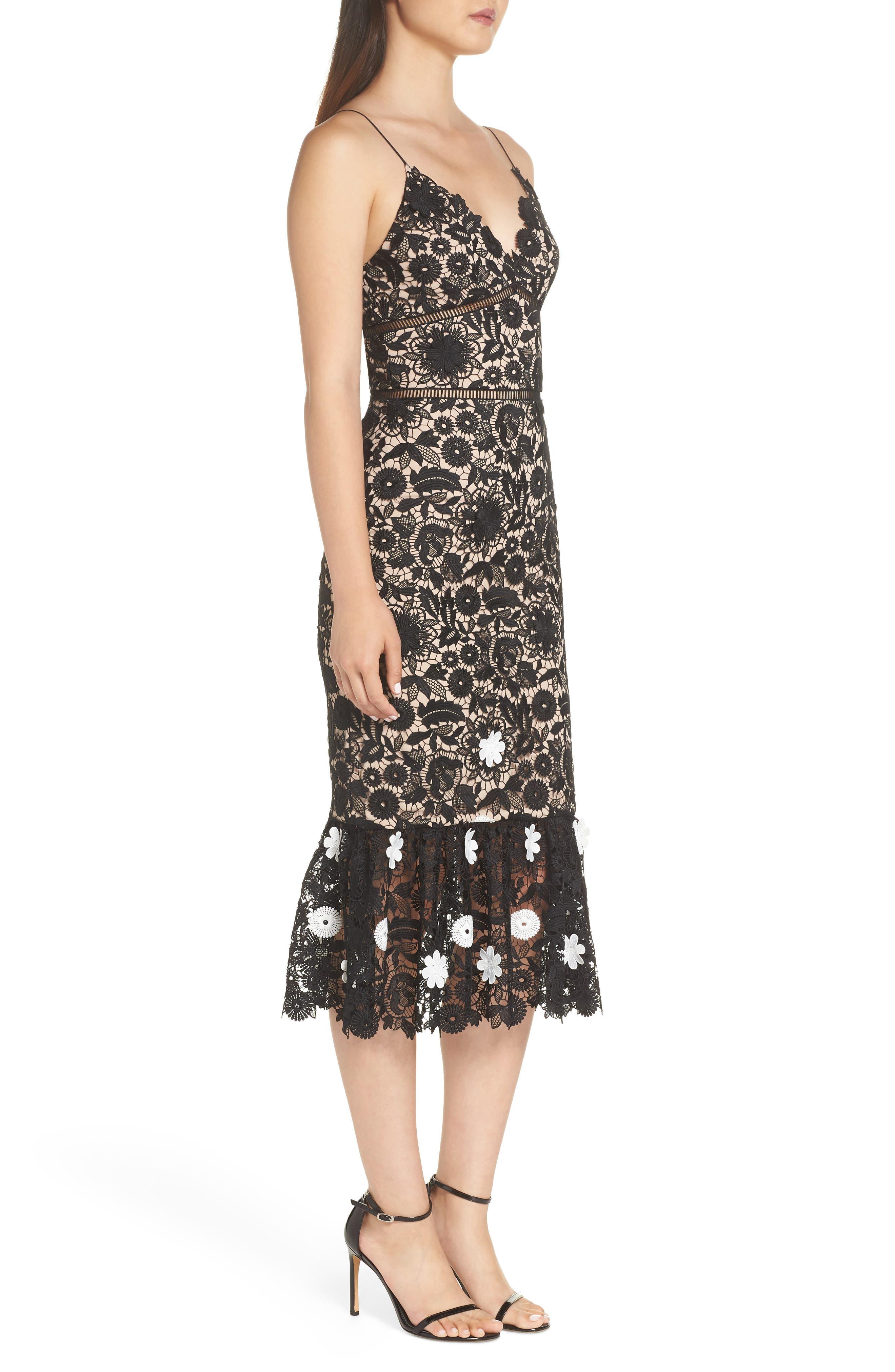 ML MONIQUE LHUILLIER,                             3D Floral Lace Cocktail Dress,                             Alternate thumbnail 3, color,                             001