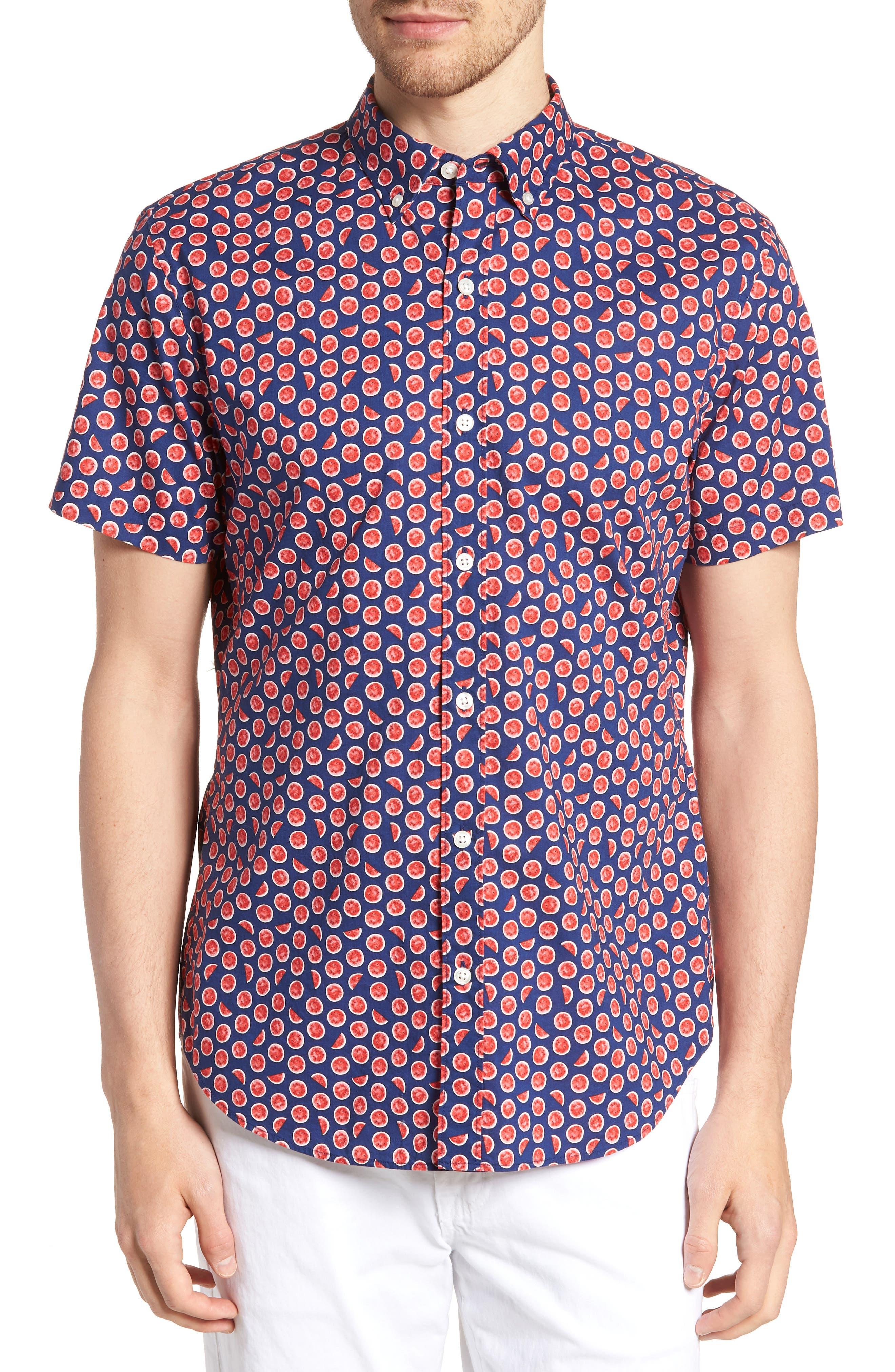 Riviera Slim Fit Watermelon Print Sport Shirt,                         Main,                         color, WATERMELON - GOJI BERRY