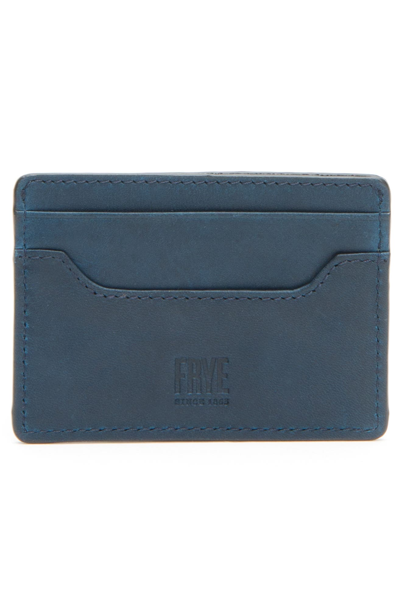 'Logan' Leather Card Holder,                             Alternate thumbnail 3, color,                             NAVY