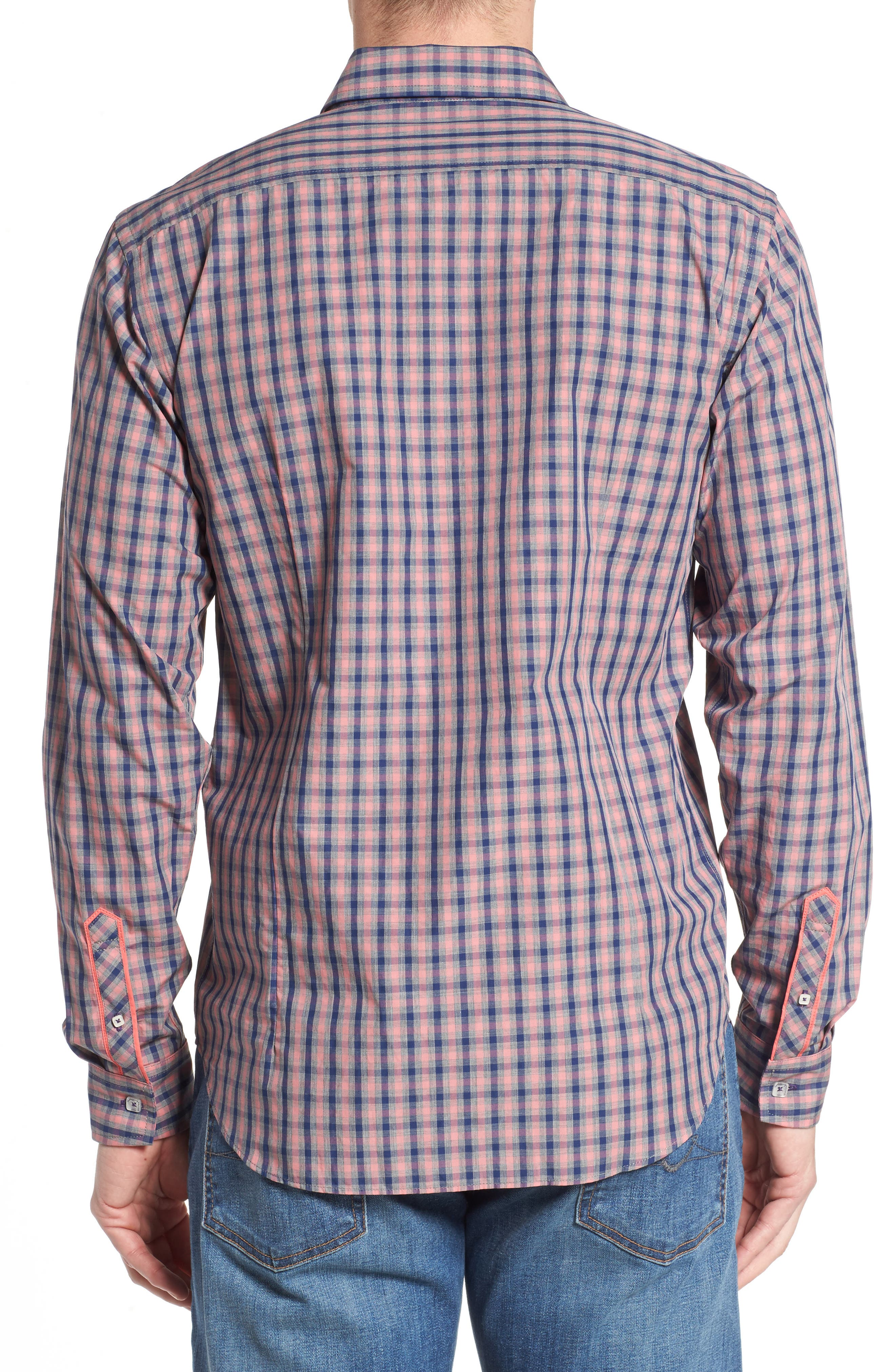 Fitted Plaid Sport Shirt,                             Alternate thumbnail 2, color,