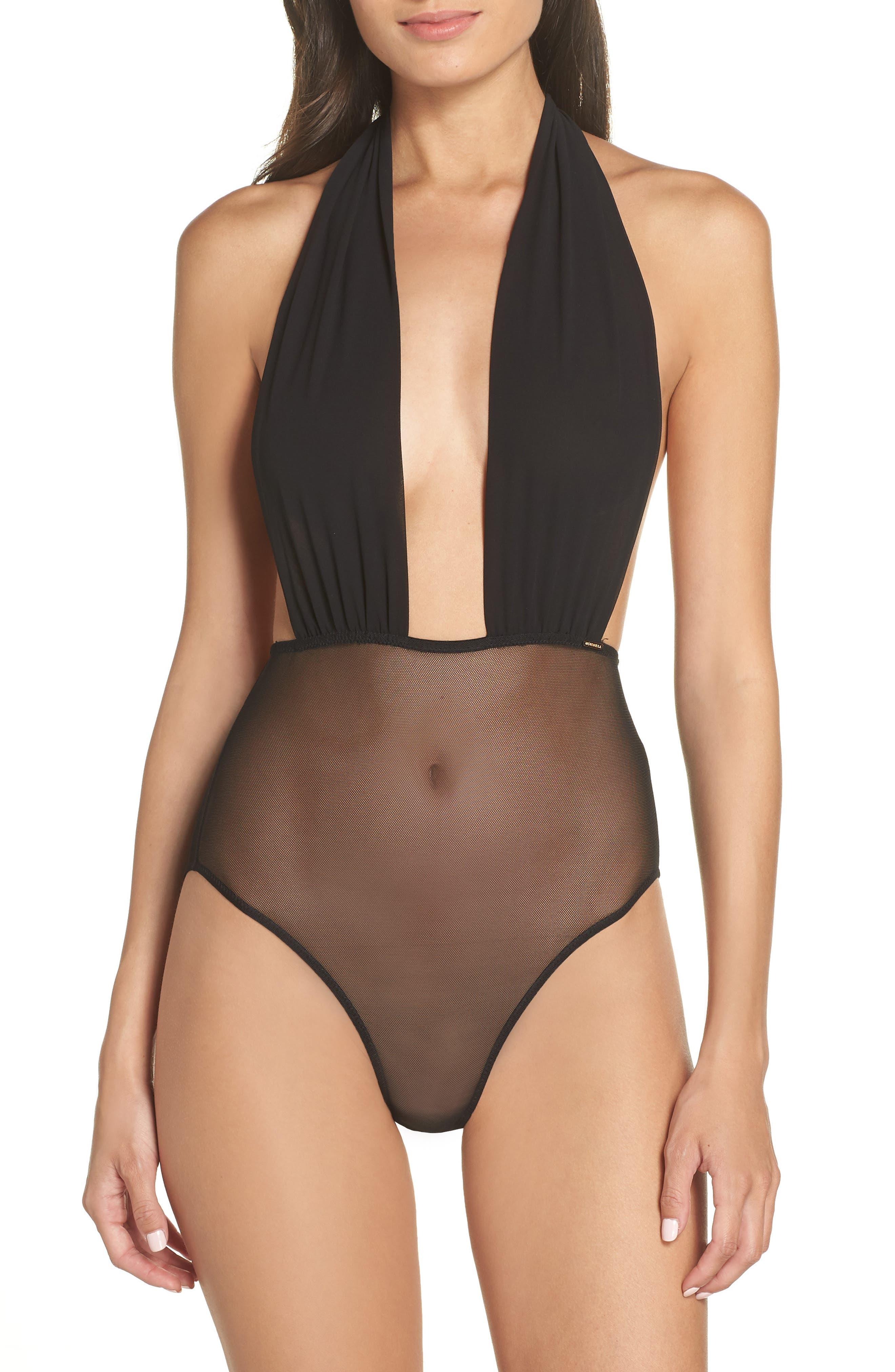 BLUEBELLA Luella Bow Halter Bodysuit in Black