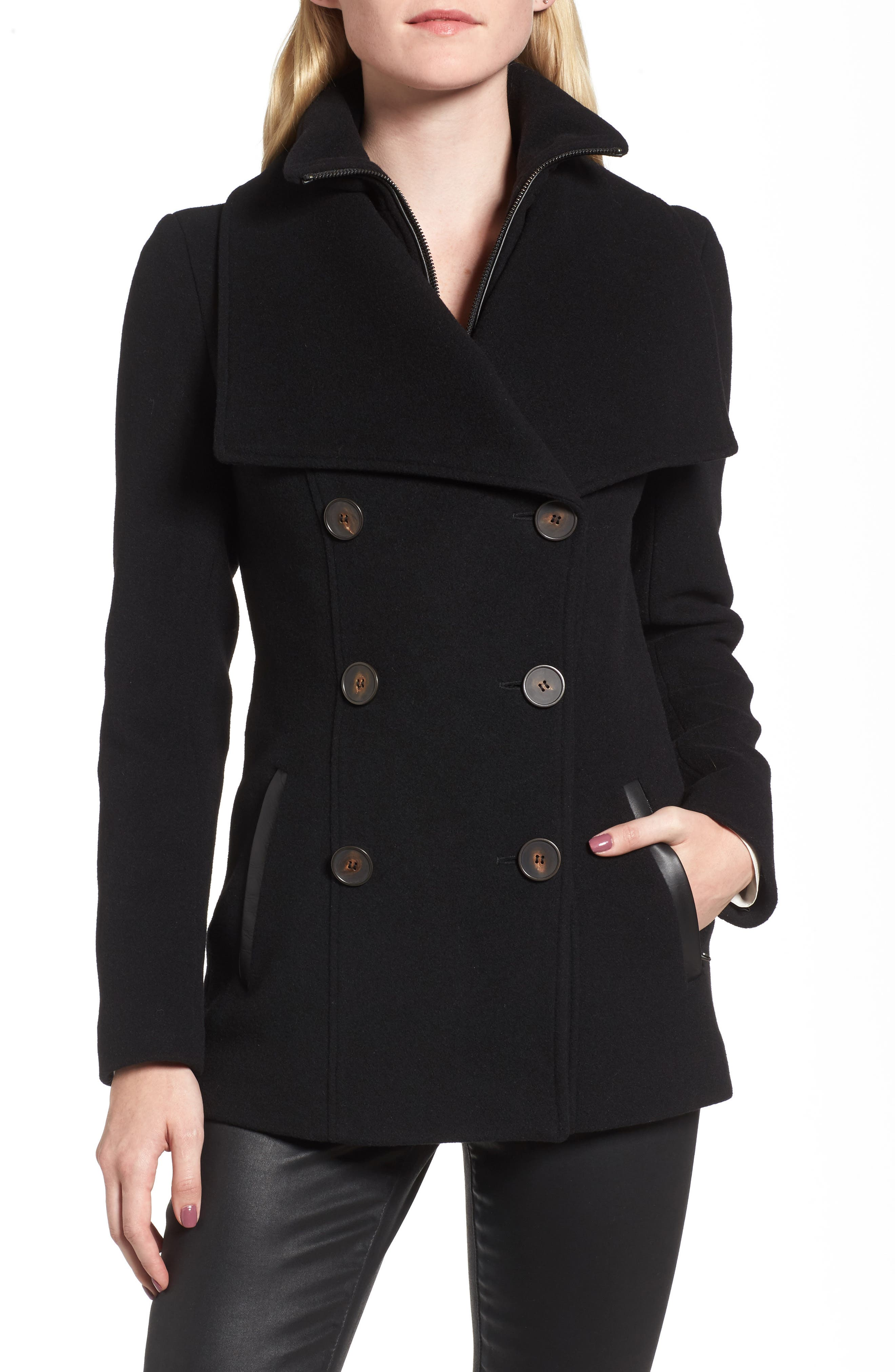 Norissa Double-Breasted Wool Blend Peacoat,                             Main thumbnail 1, color,                             001