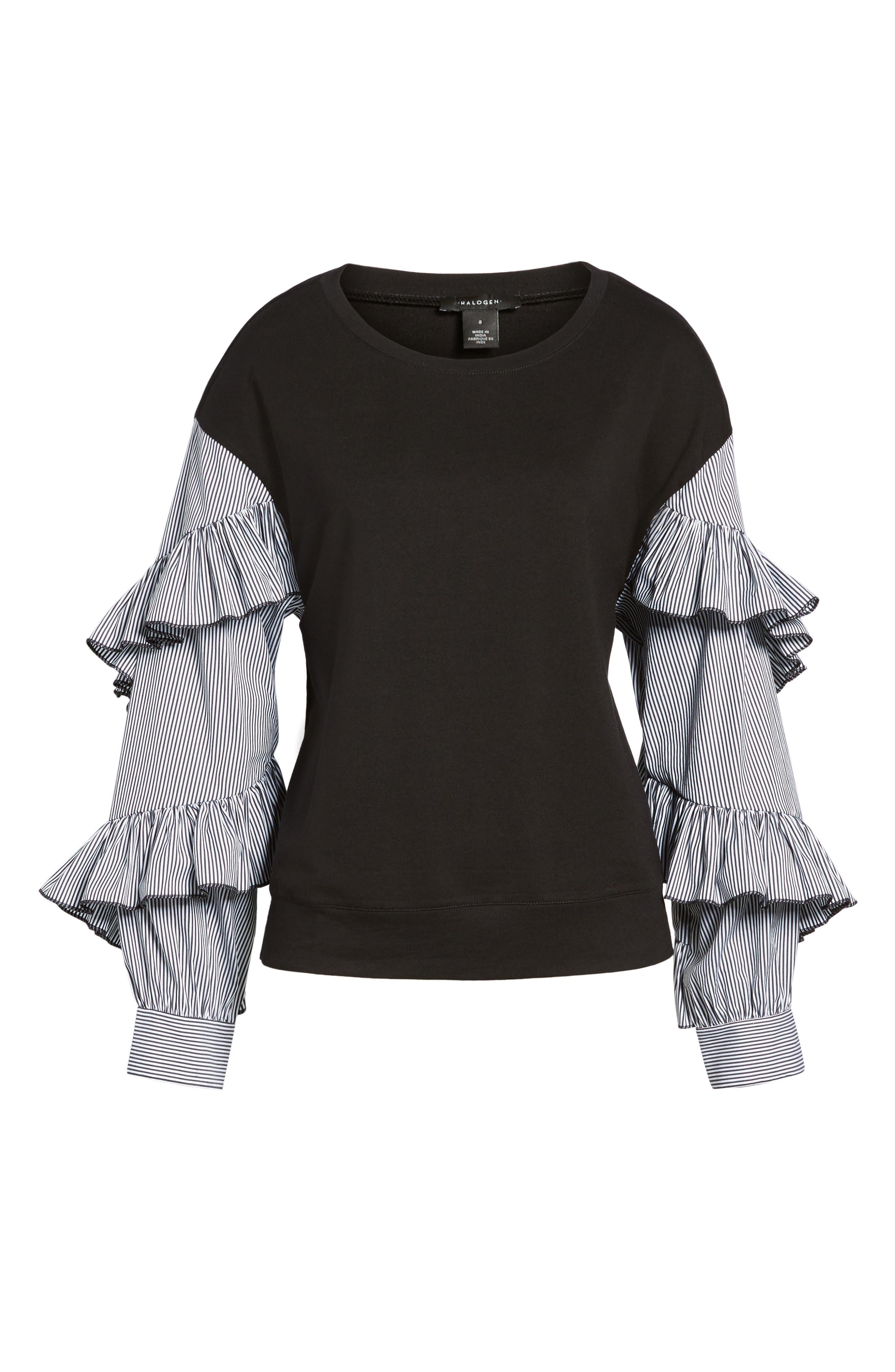 Poplin Ruffle Sleeve Sweatshirt,                             Alternate thumbnail 6, color,                             001
