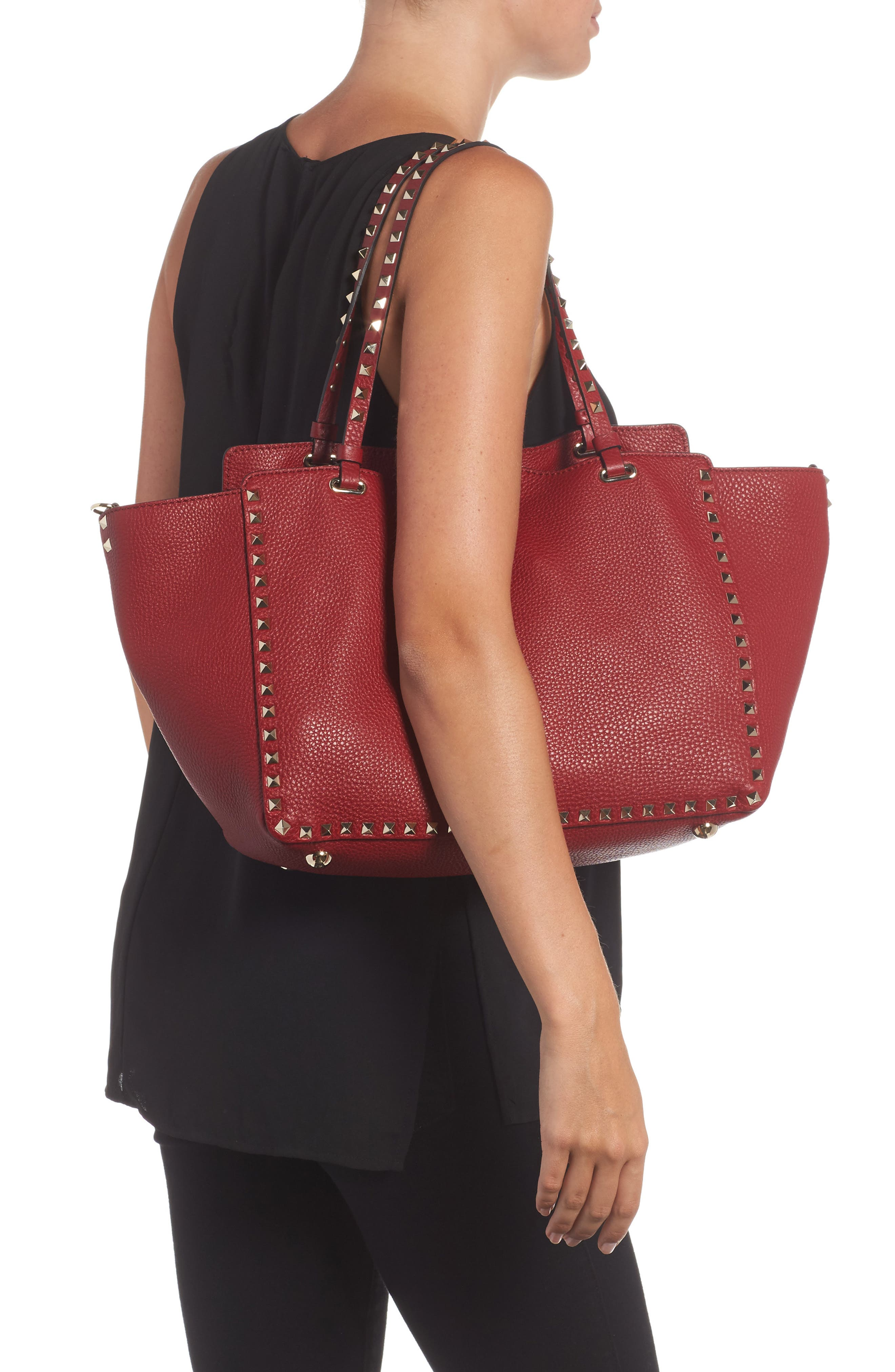 Medium Rockstud Grained Calfskin Leather Tote,                             Alternate thumbnail 2, color,                             930