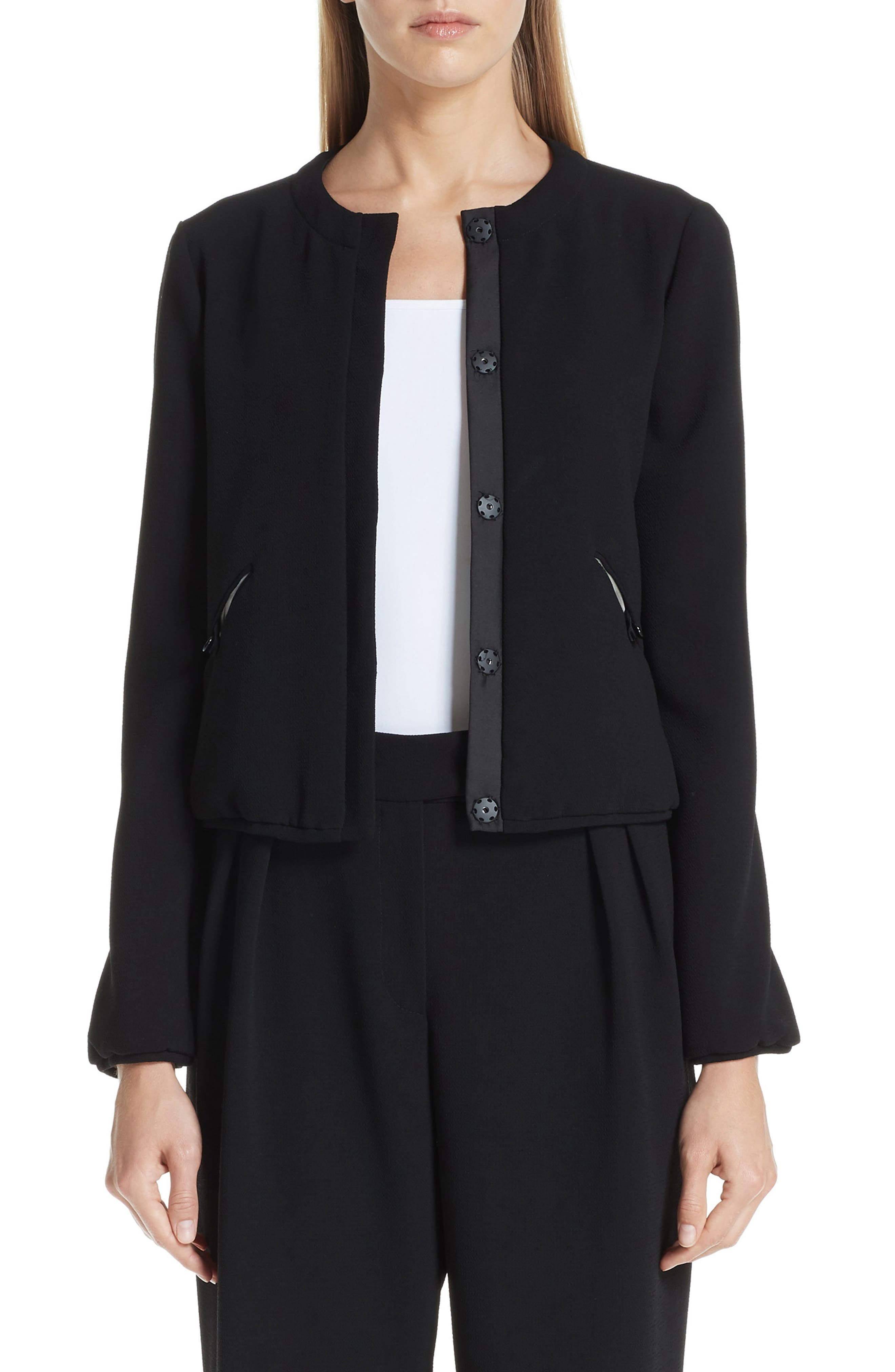 Tech Crepe Padded Cropped Jacket in Nero