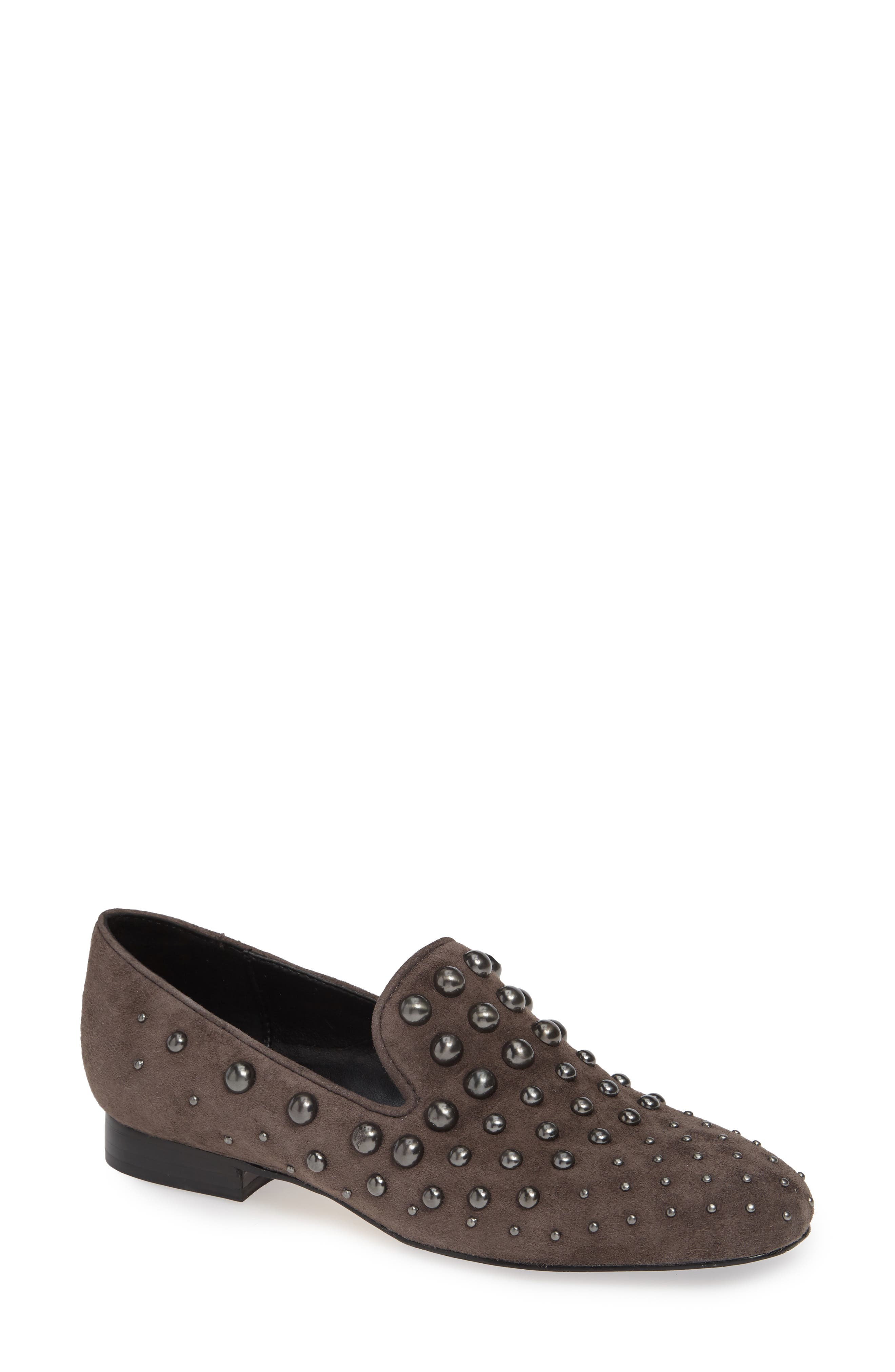 DONALD PLINER Women'S Loyd Almond Toe Studded Suede Loafers in Dark Taupe Suede