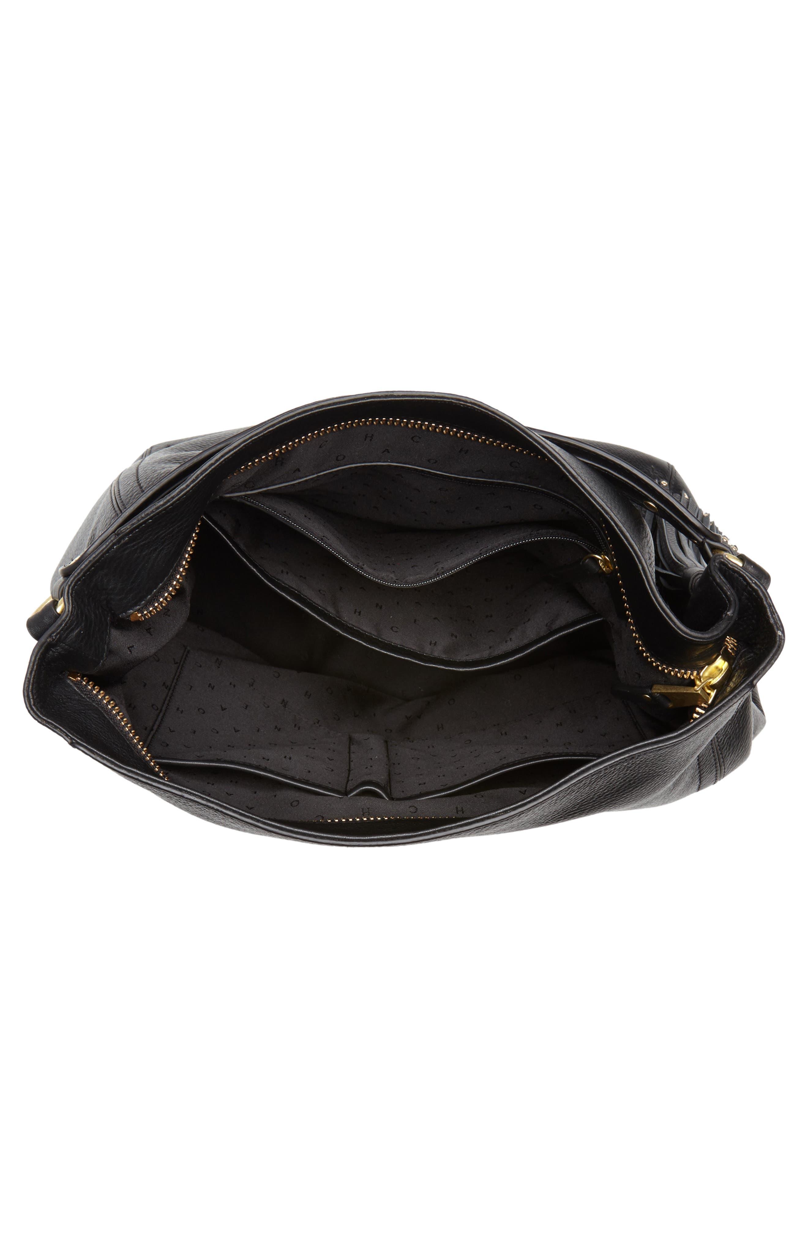 Cassidy RFID Pebbled Leather Bucket Bag,                             Alternate thumbnail 4, color,                             001