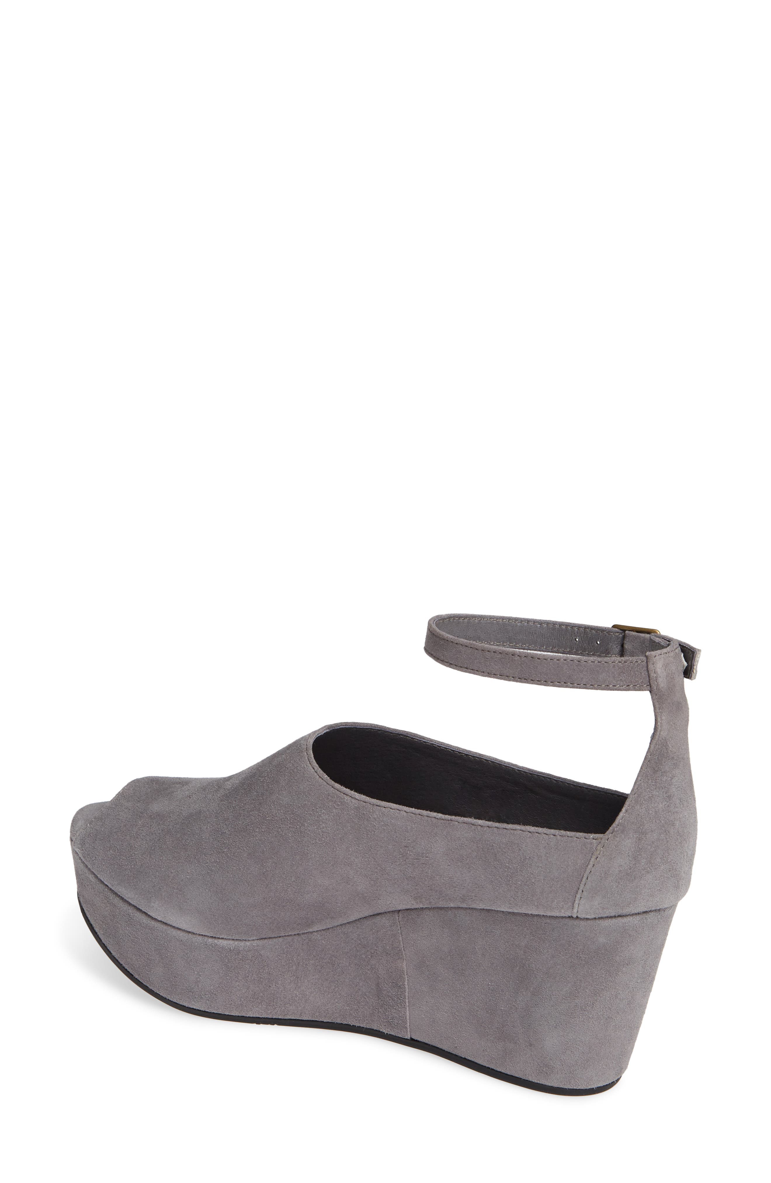Walter Ankle Strap Wedge Sandal,                             Alternate thumbnail 2, color,                             GREY SUEDE