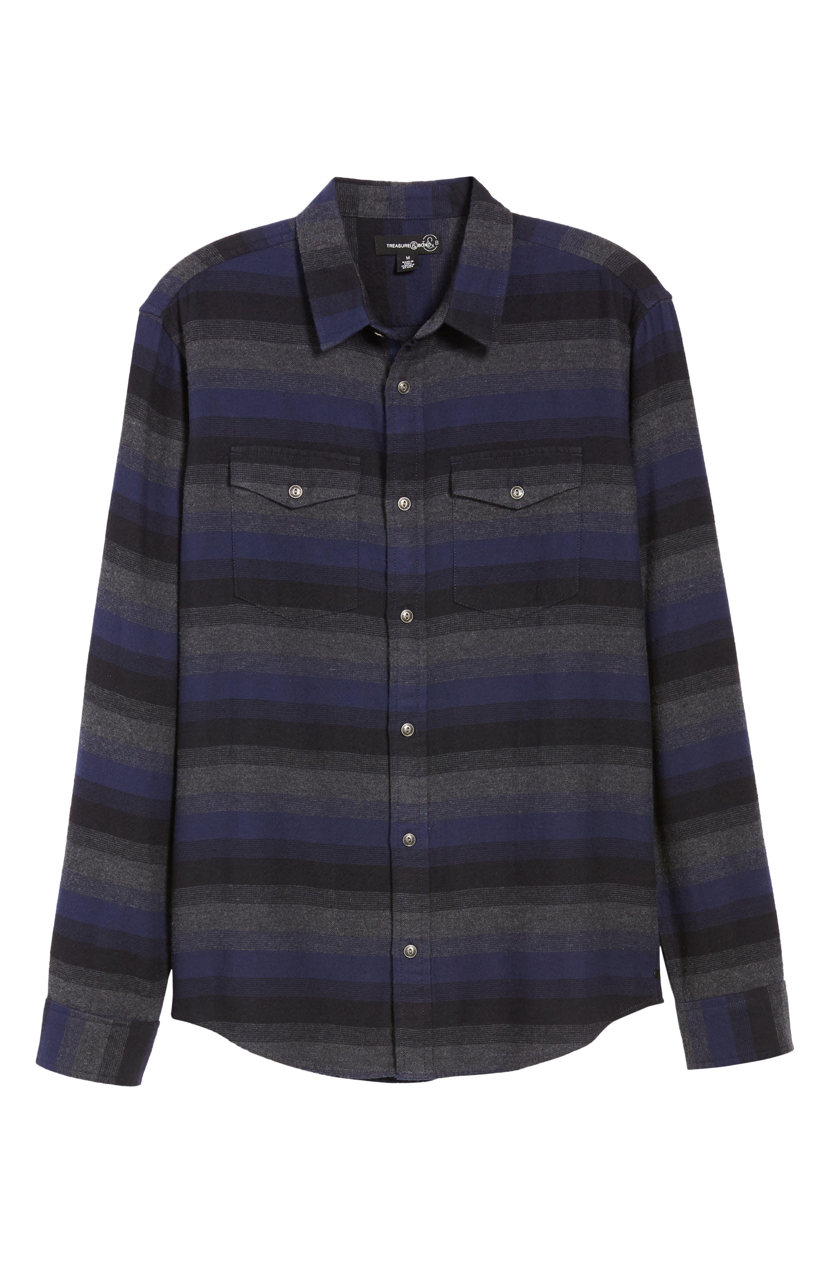 Regular Fit Ombré Sport Shirt,                             Alternate thumbnail 5, color,                             NAVY CHARCOAL OMBRE STRIPE