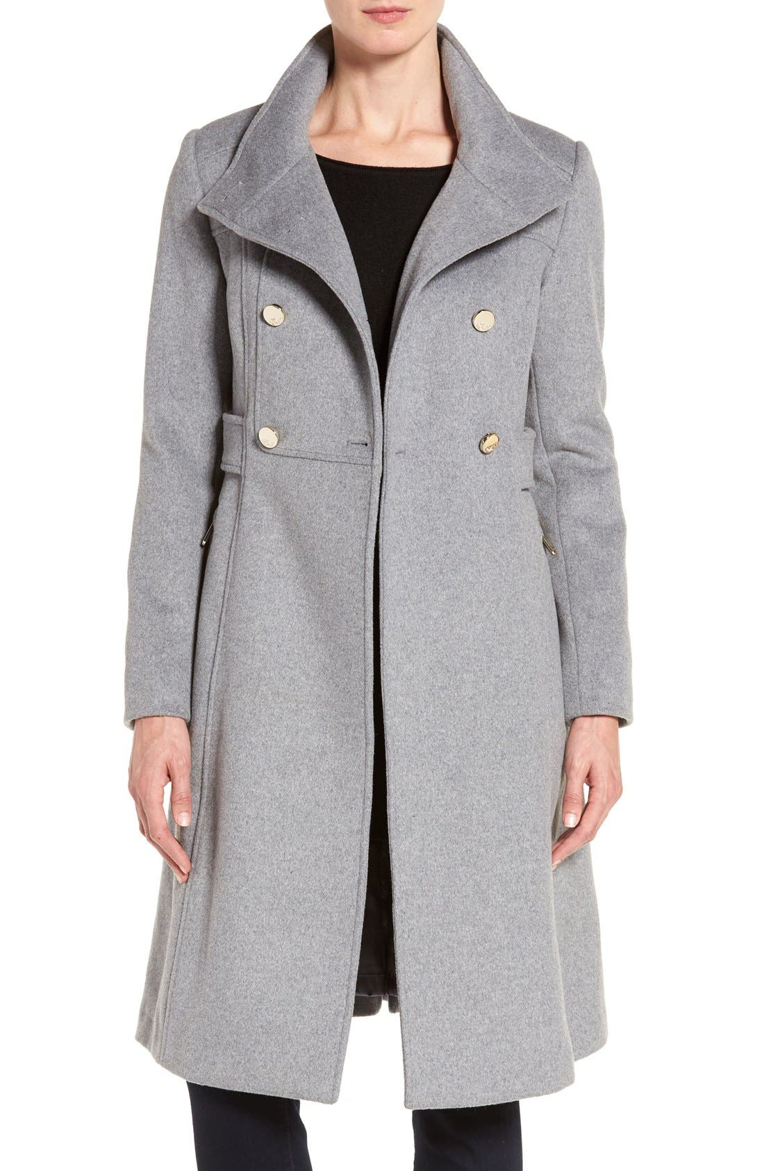 Wool Blend Long Military Coat,                             Main thumbnail 2, color,