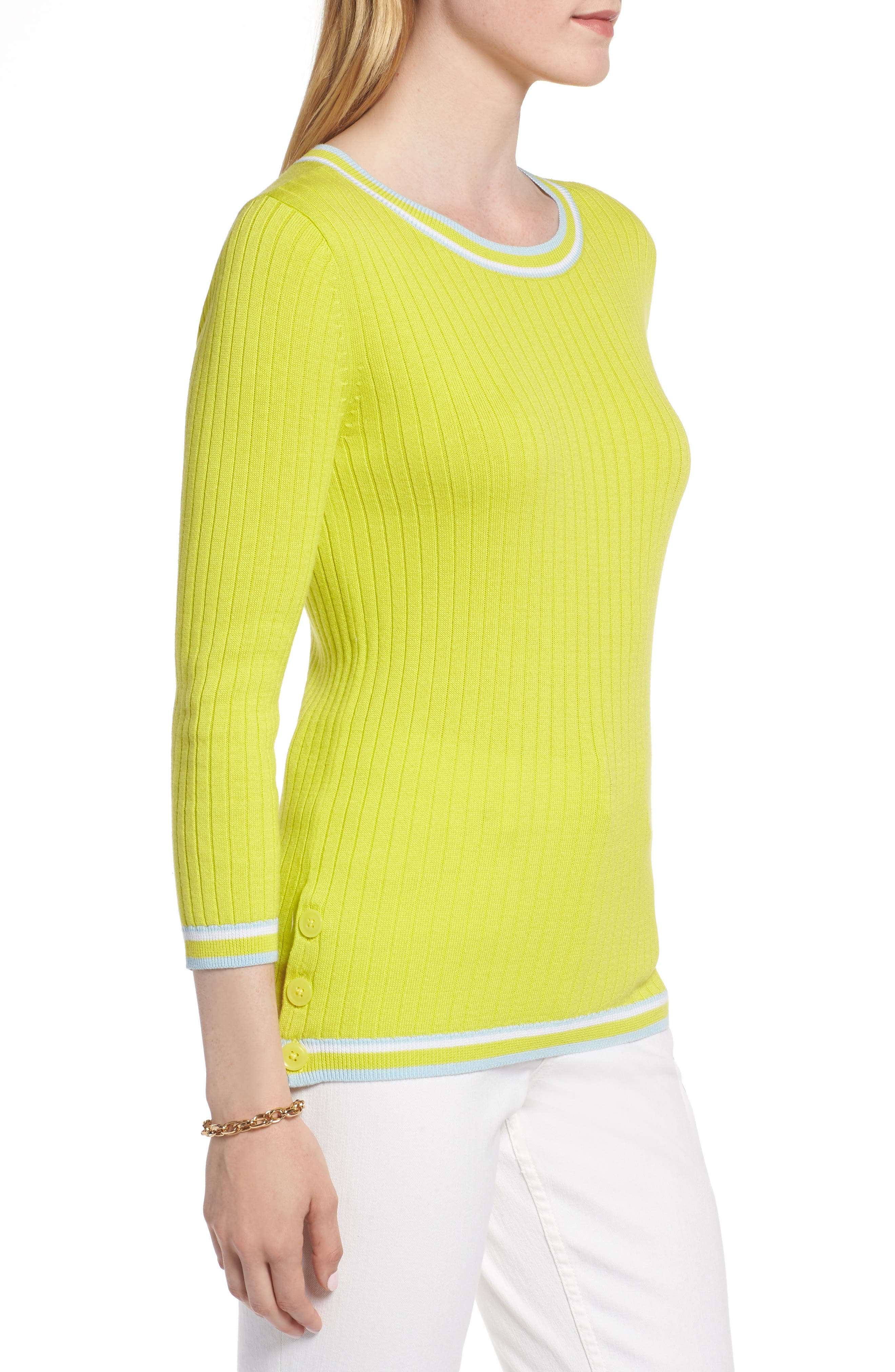 Tipped Cotton Blend Ribbed Sweater,                             Alternate thumbnail 3, color,                             330