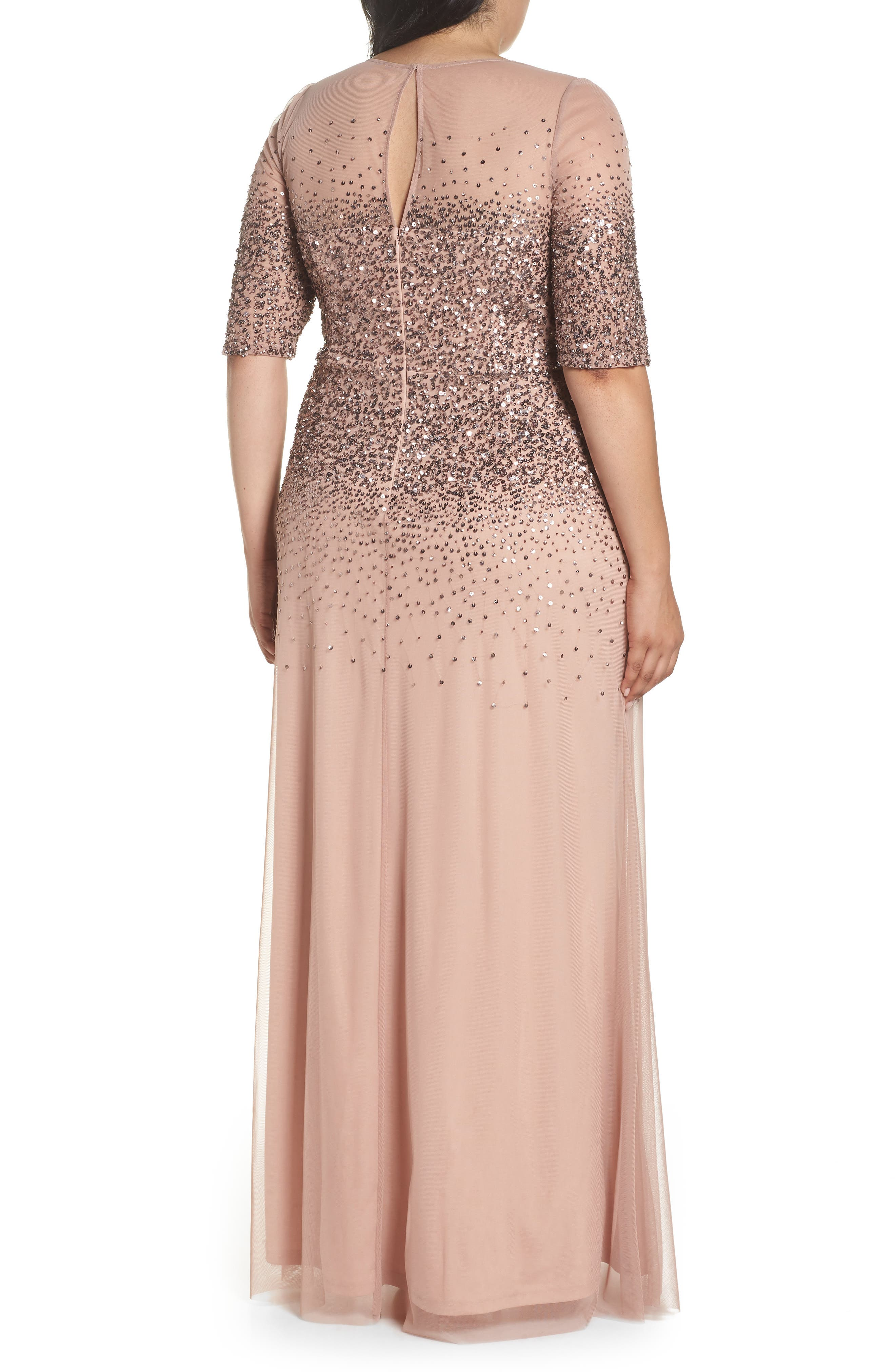 Beaded Illusion Gown,                             Alternate thumbnail 2, color,                             ROSE GOLD