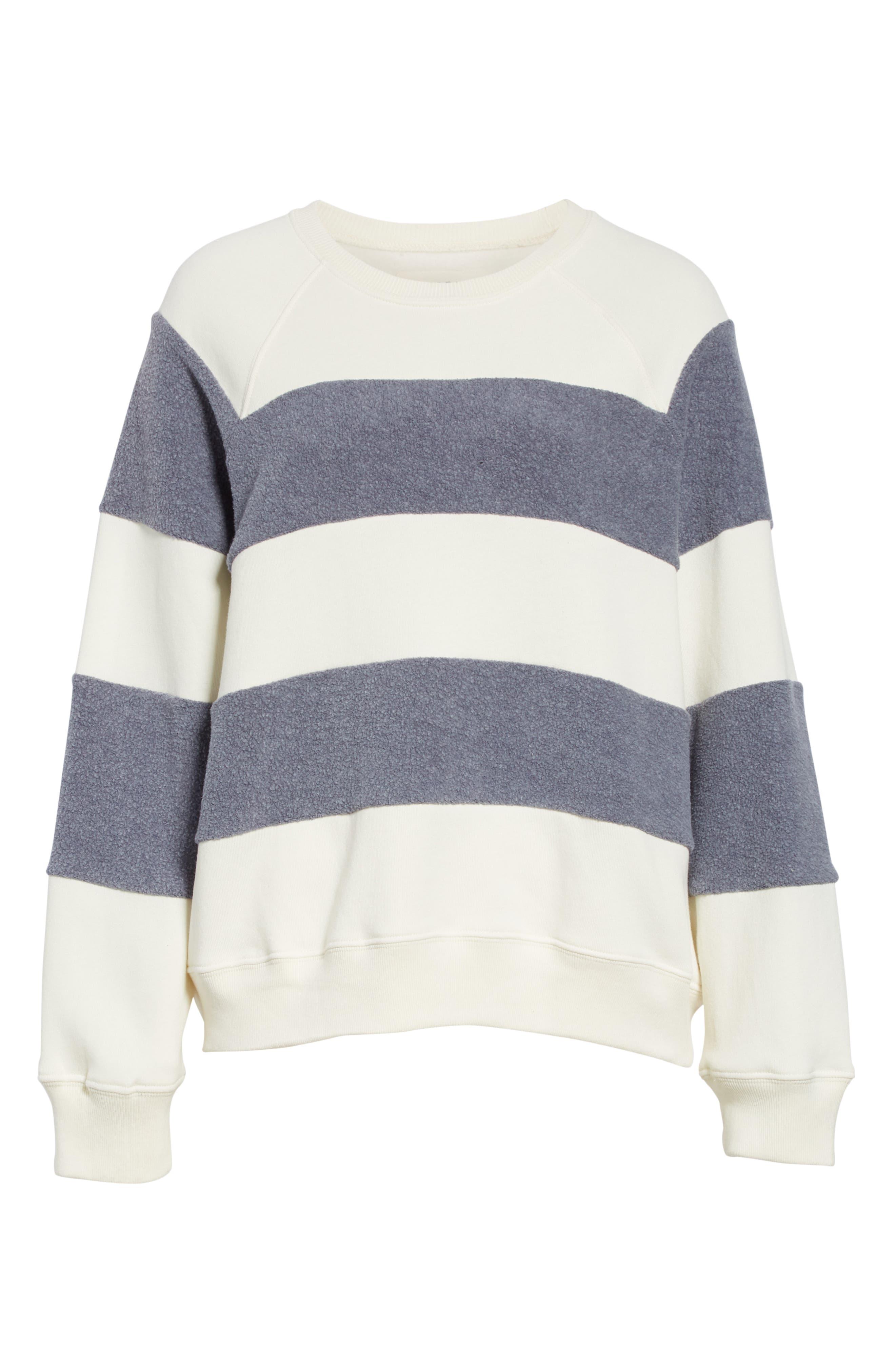 Fleece Stripe Slouch Sweatshirt,                             Alternate thumbnail 6, color,                             ENGINE BLUE AND CREAM