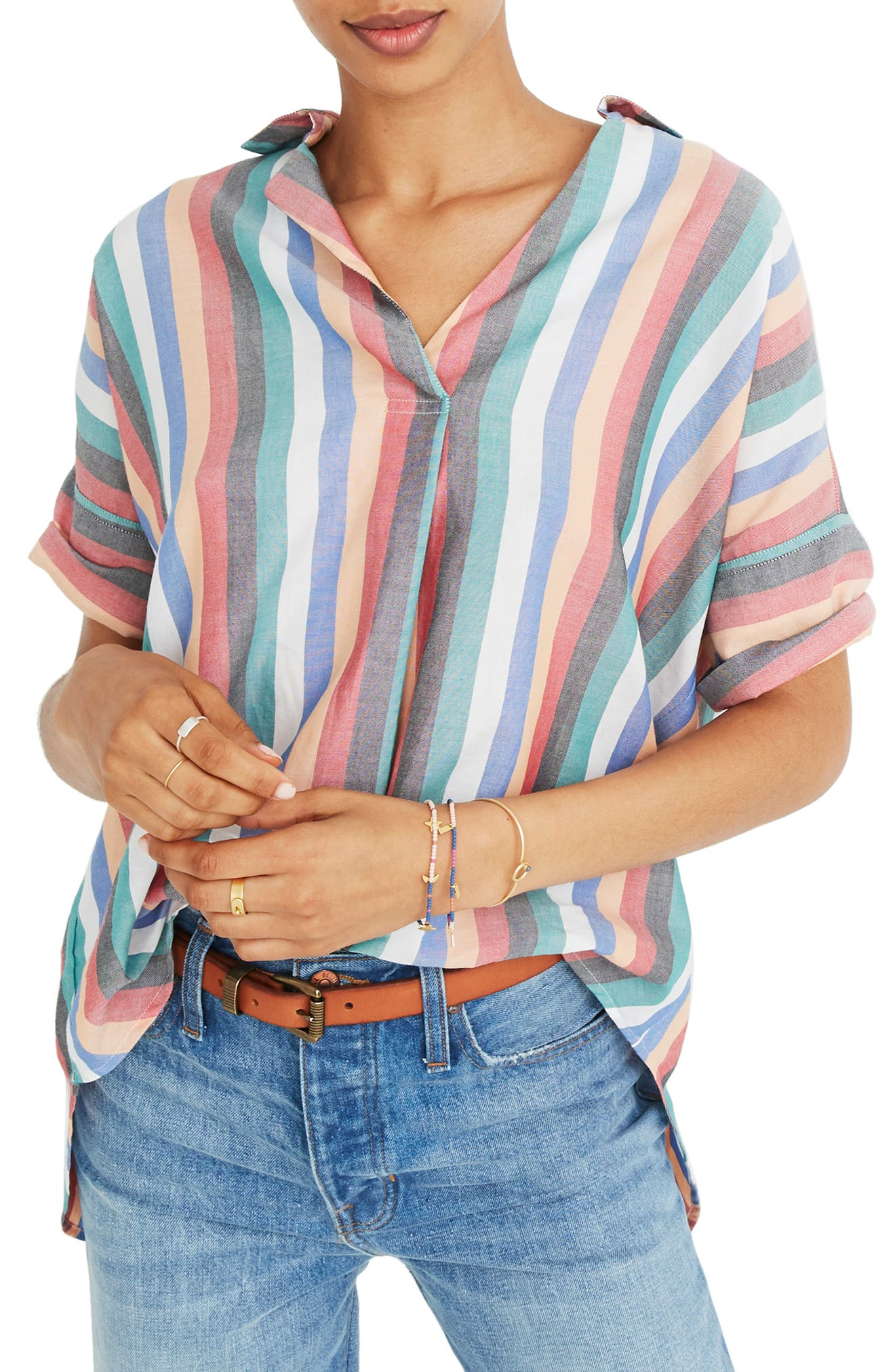 Courier Button Back Shirt,                             Main thumbnail 1, color,                             MULTI STRIPE
